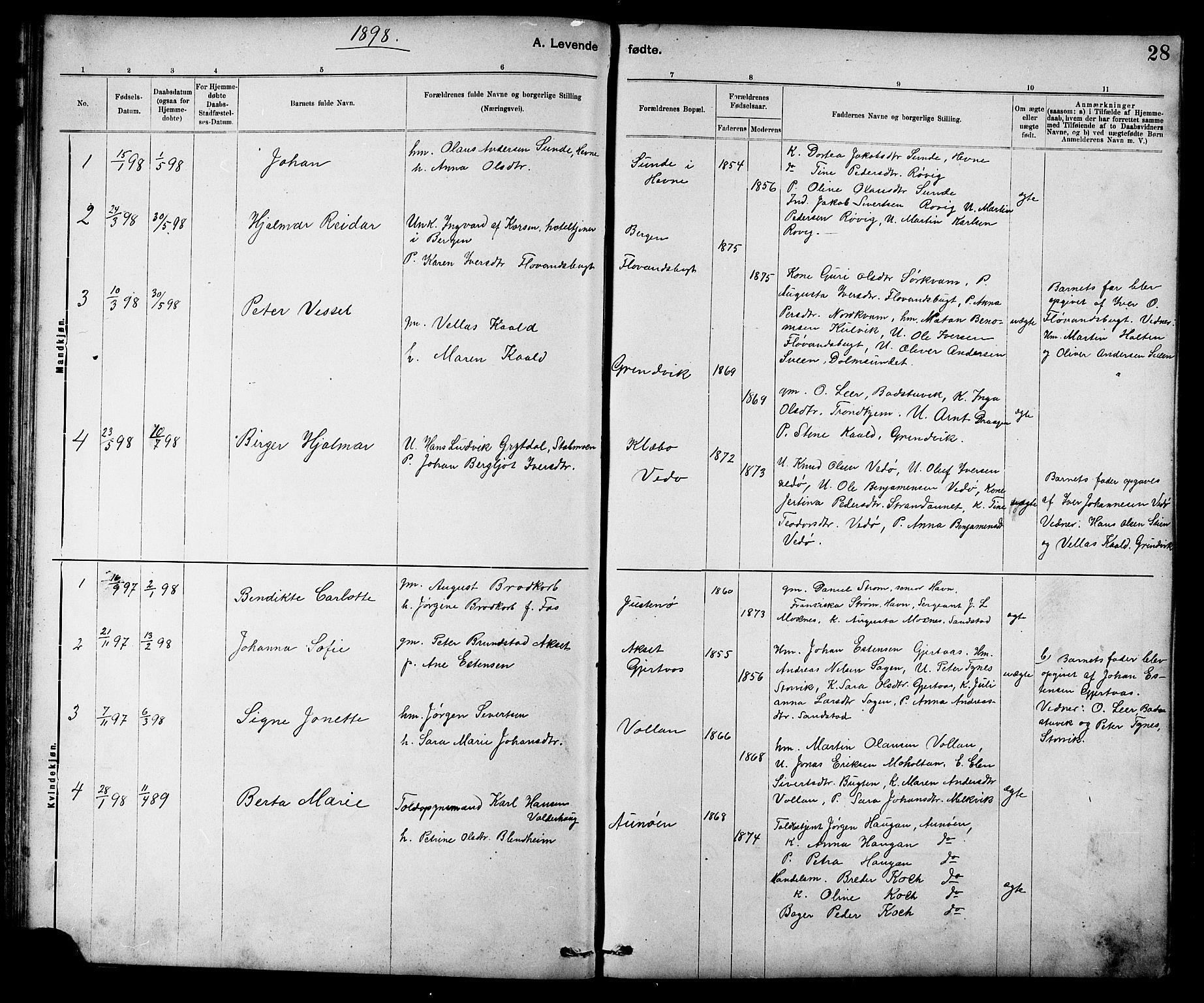 SAT, Ministerialprotokoller, klokkerbøker og fødselsregistre - Sør-Trøndelag, 639/L0573: Klokkerbok nr. 639C01, 1890-1905, s. 28