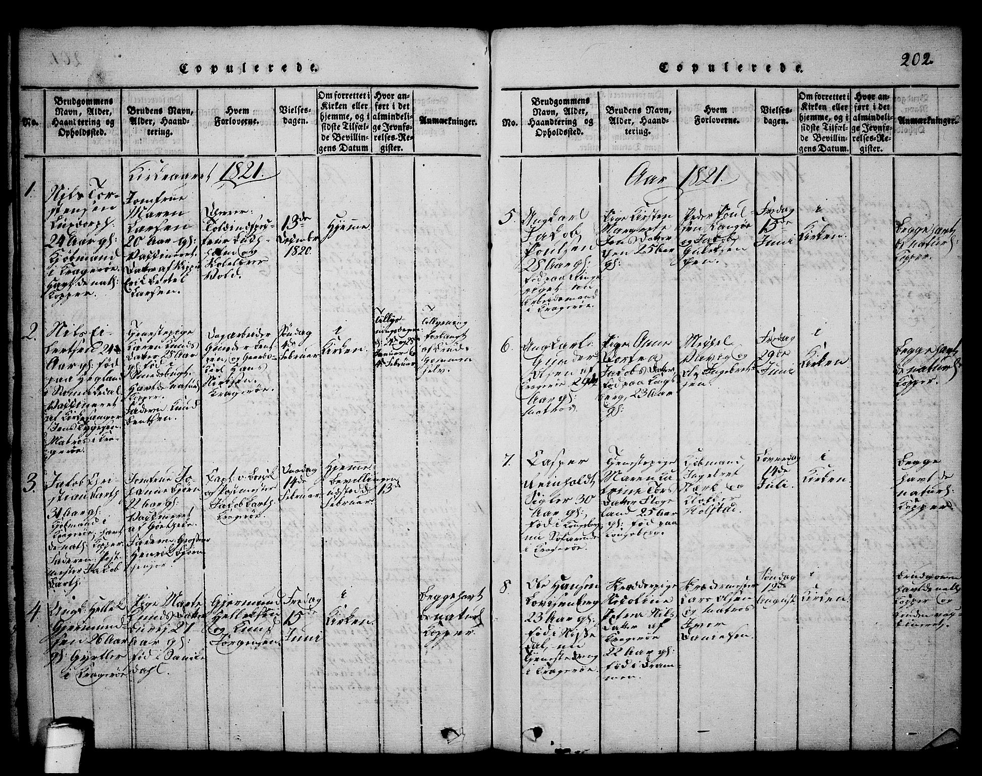 SAKO, Kragerø kirkebøker, G/Ga/L0002: Klokkerbok nr. 2, 1814-1831, s. 202