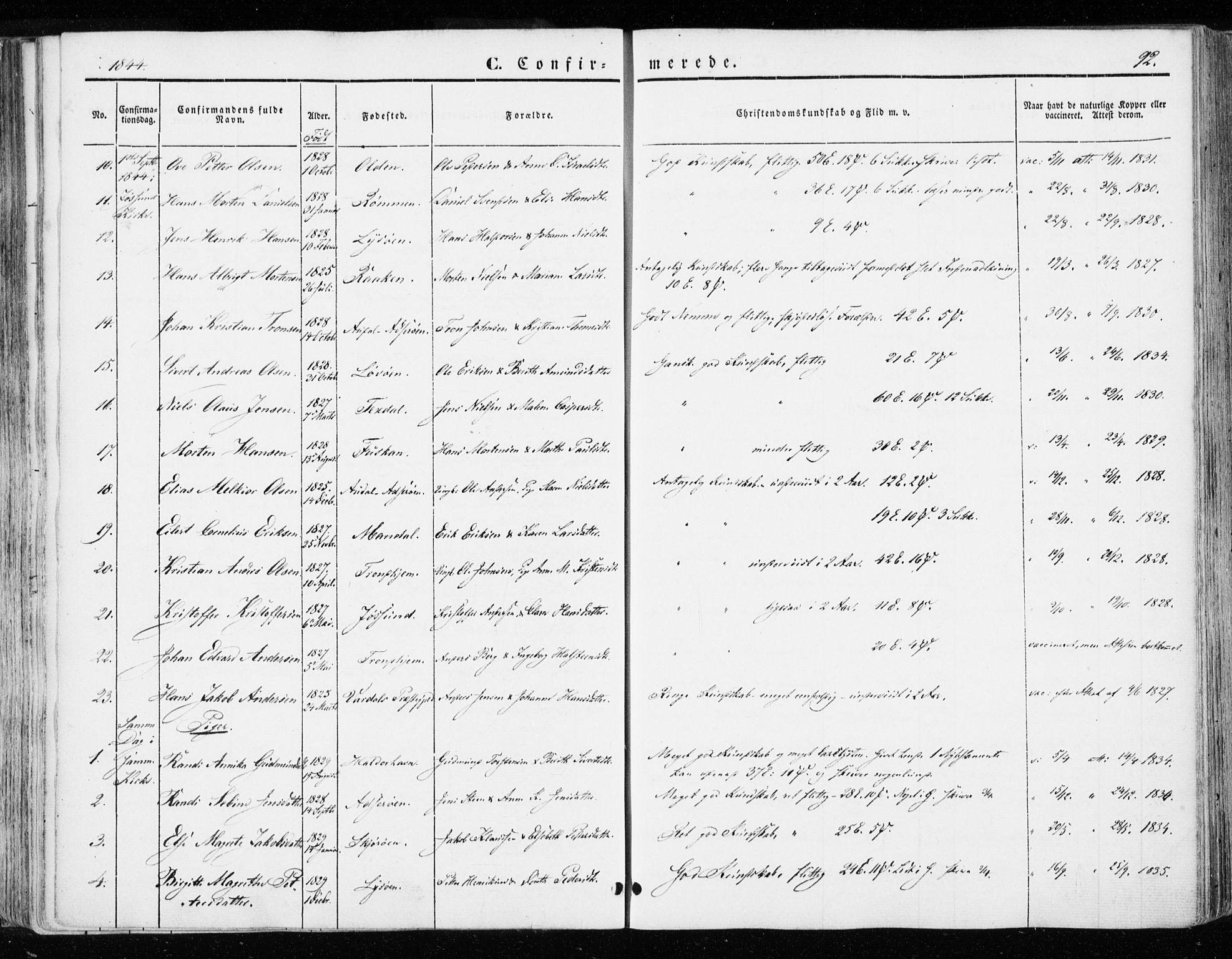 SAT, Ministerialprotokoller, klokkerbøker og fødselsregistre - Sør-Trøndelag, 655/L0677: Ministerialbok nr. 655A06, 1847-1860, s. 92