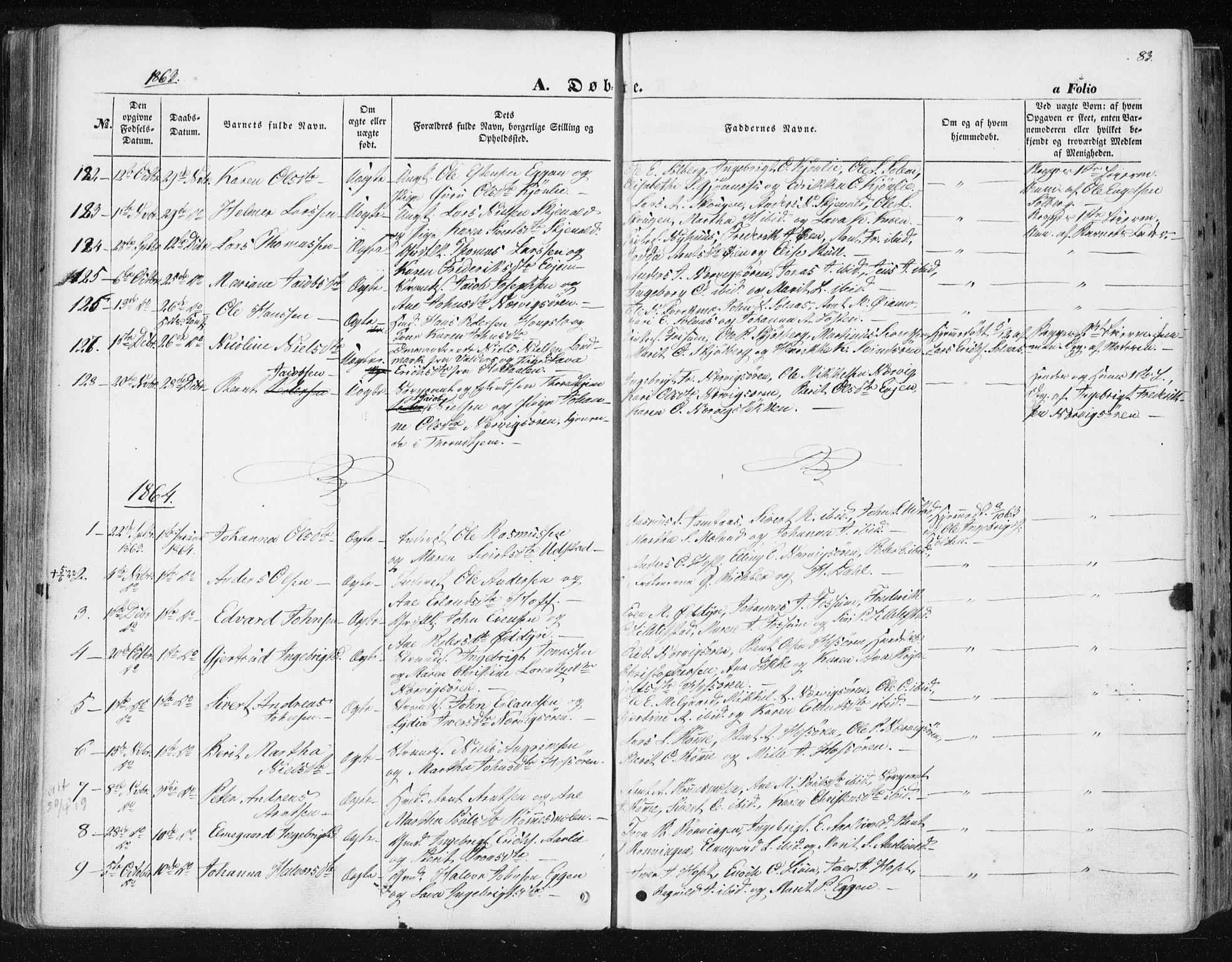 SAT, Ministerialprotokoller, klokkerbøker og fødselsregistre - Sør-Trøndelag, 668/L0806: Ministerialbok nr. 668A06, 1854-1869, s. 83