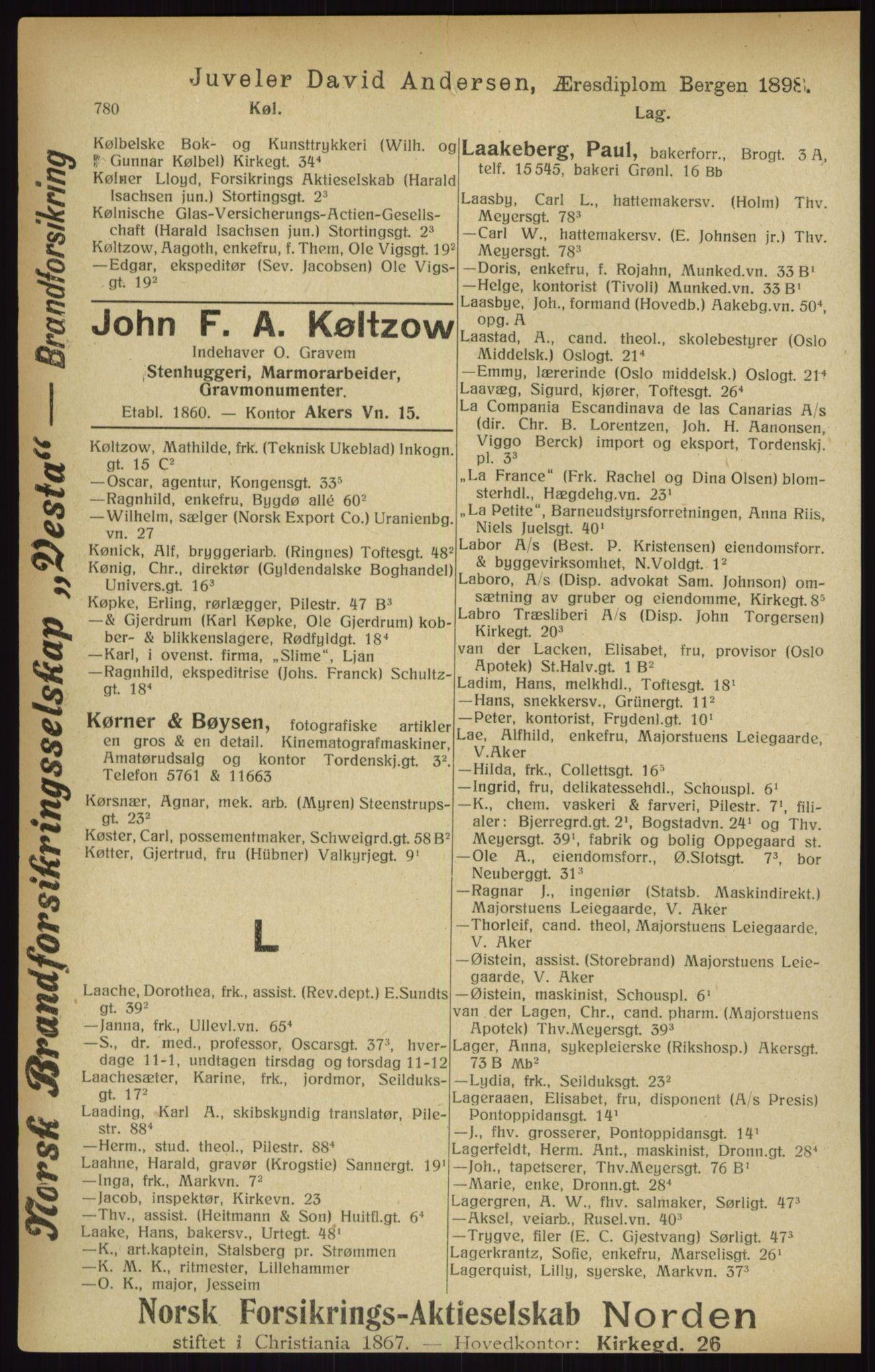 RA, Kristiania adressebok (publikasjon)*, 1916, s. 780