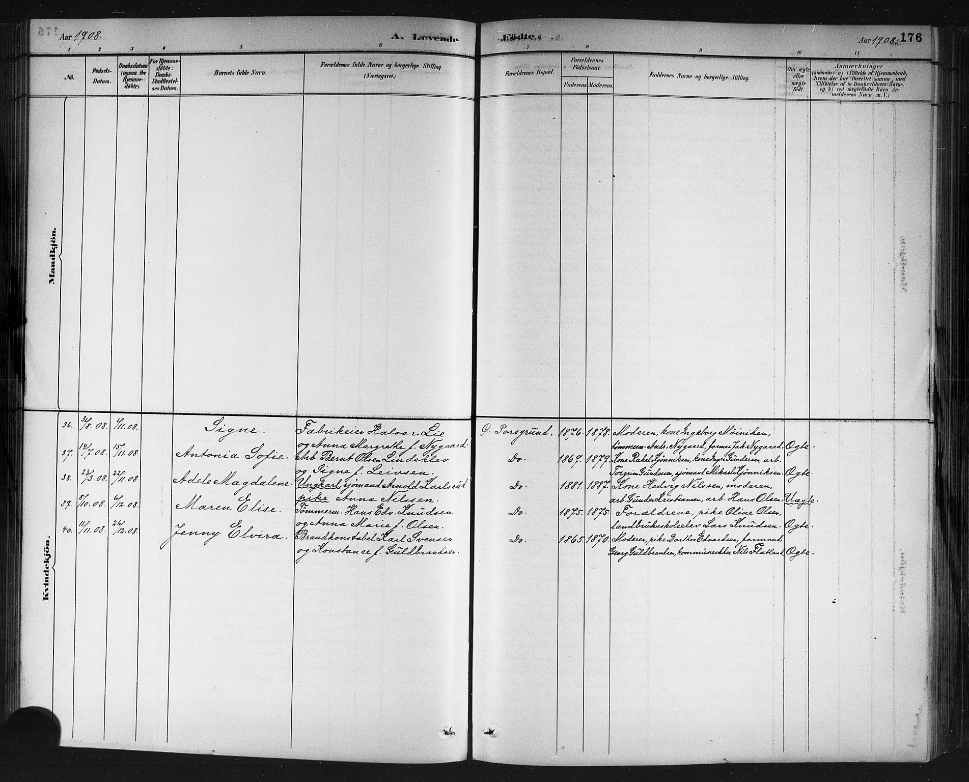 SAKO, Porsgrunn kirkebøker , G/Gb/L0005: Klokkerbok nr. II 5, 1883-1915, s. 176