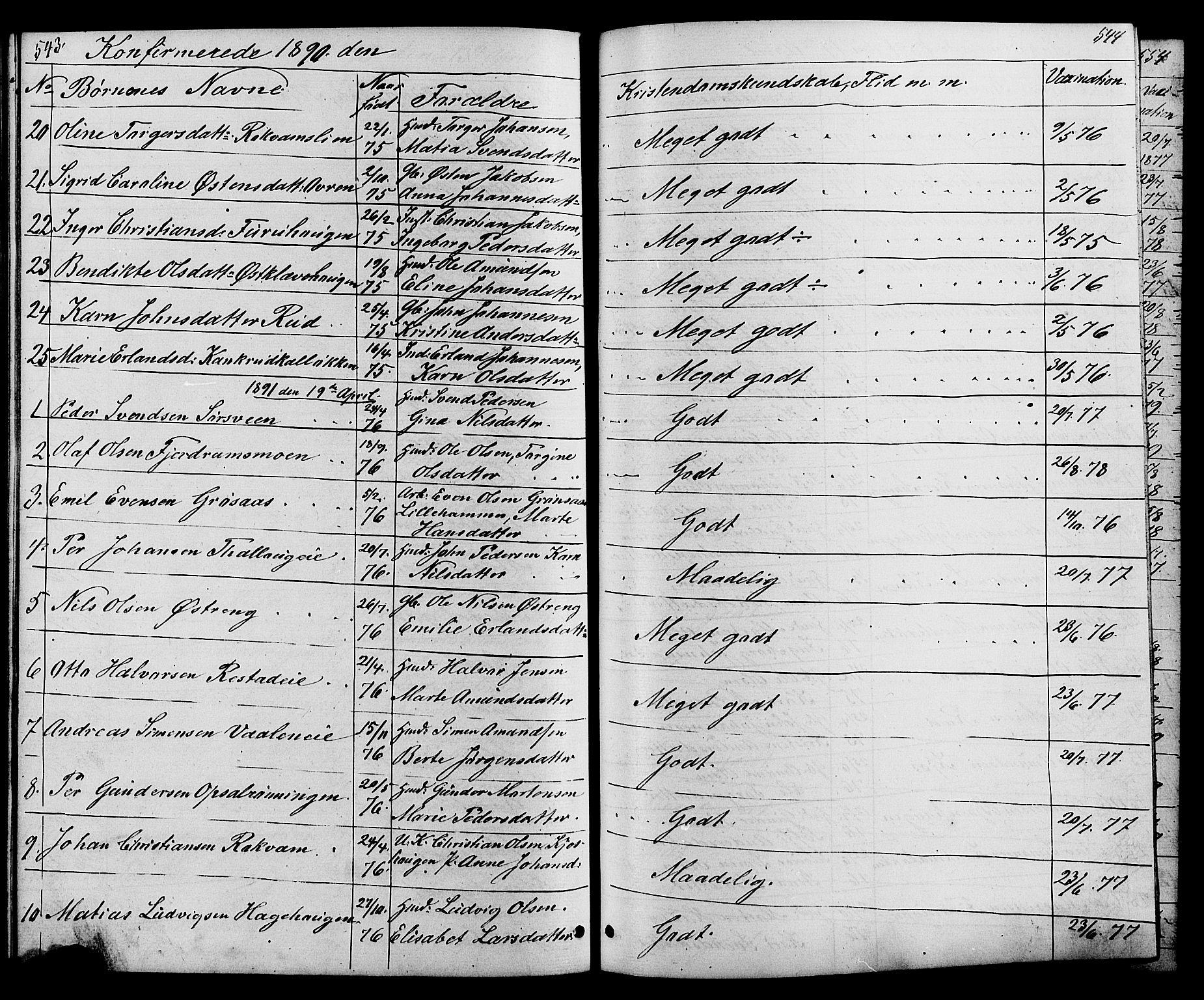 SAH, Østre Gausdal prestekontor, Klokkerbok nr. 1, 1863-1893, s. 543-544
