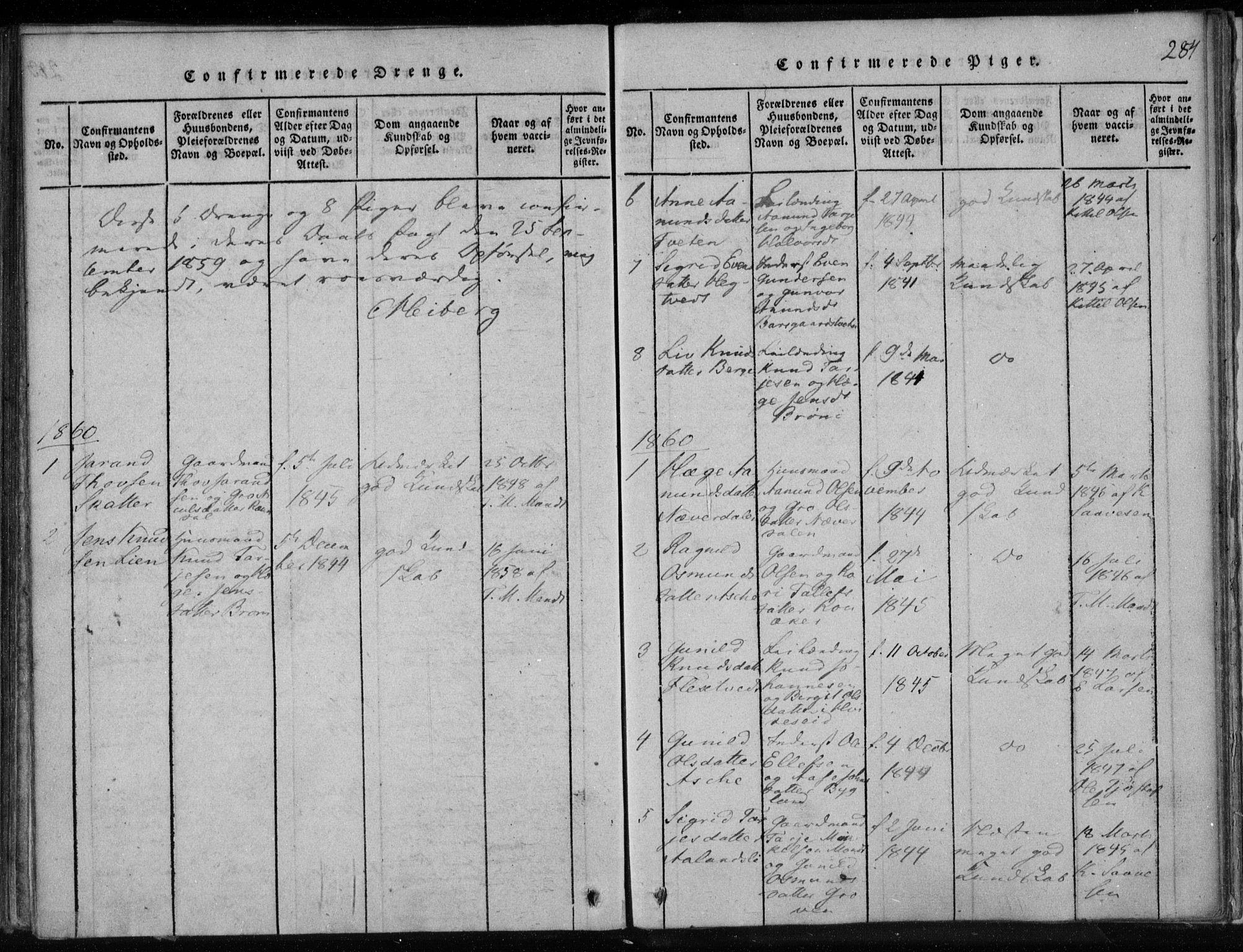 SAKO, Lårdal kirkebøker, F/Fa/L0005: Ministerialbok nr. I 5, 1815-1860, s. 284