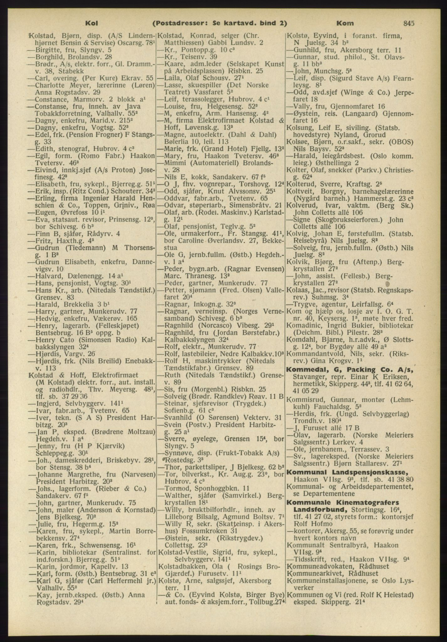 PUBL, Kristiania/Oslo adressebok, 1960-1961, s. 845