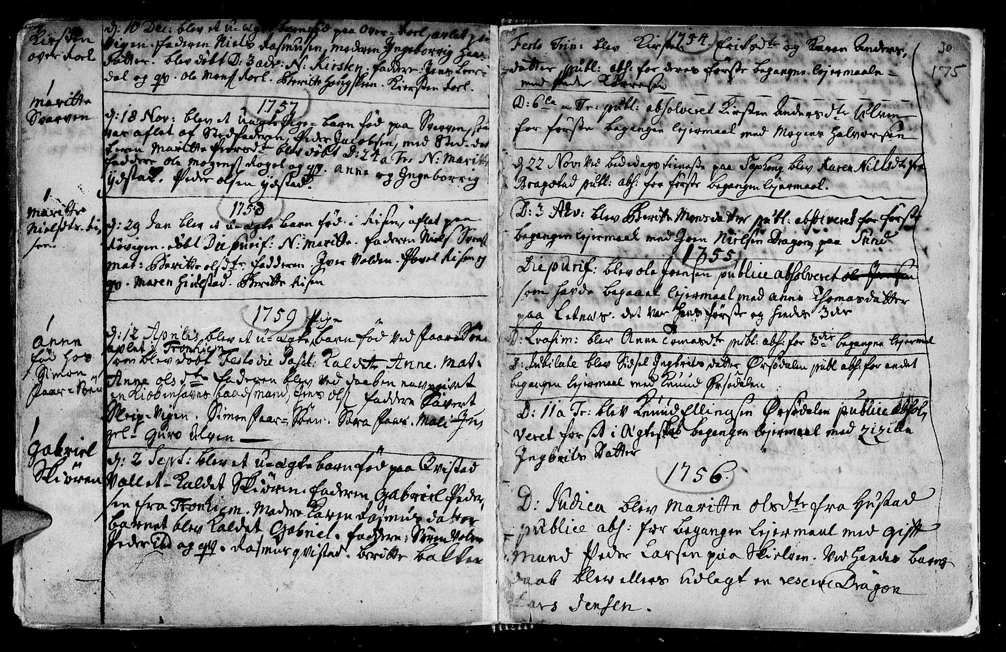 SAT, Ministerialprotokoller, klokkerbøker og fødselsregistre - Nord-Trøndelag, 730/L0272: Ministerialbok nr. 730A01, 1733-1764, s. 175
