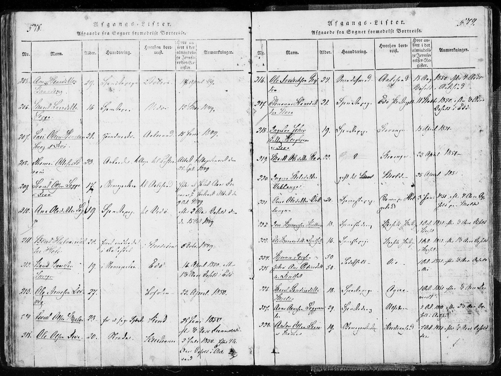 SAT, Ministerialprotokoller, klokkerbøker og fødselsregistre - Møre og Romsdal, 544/L0571: Ministerialbok nr. 544A04, 1818-1853, s. 578-579