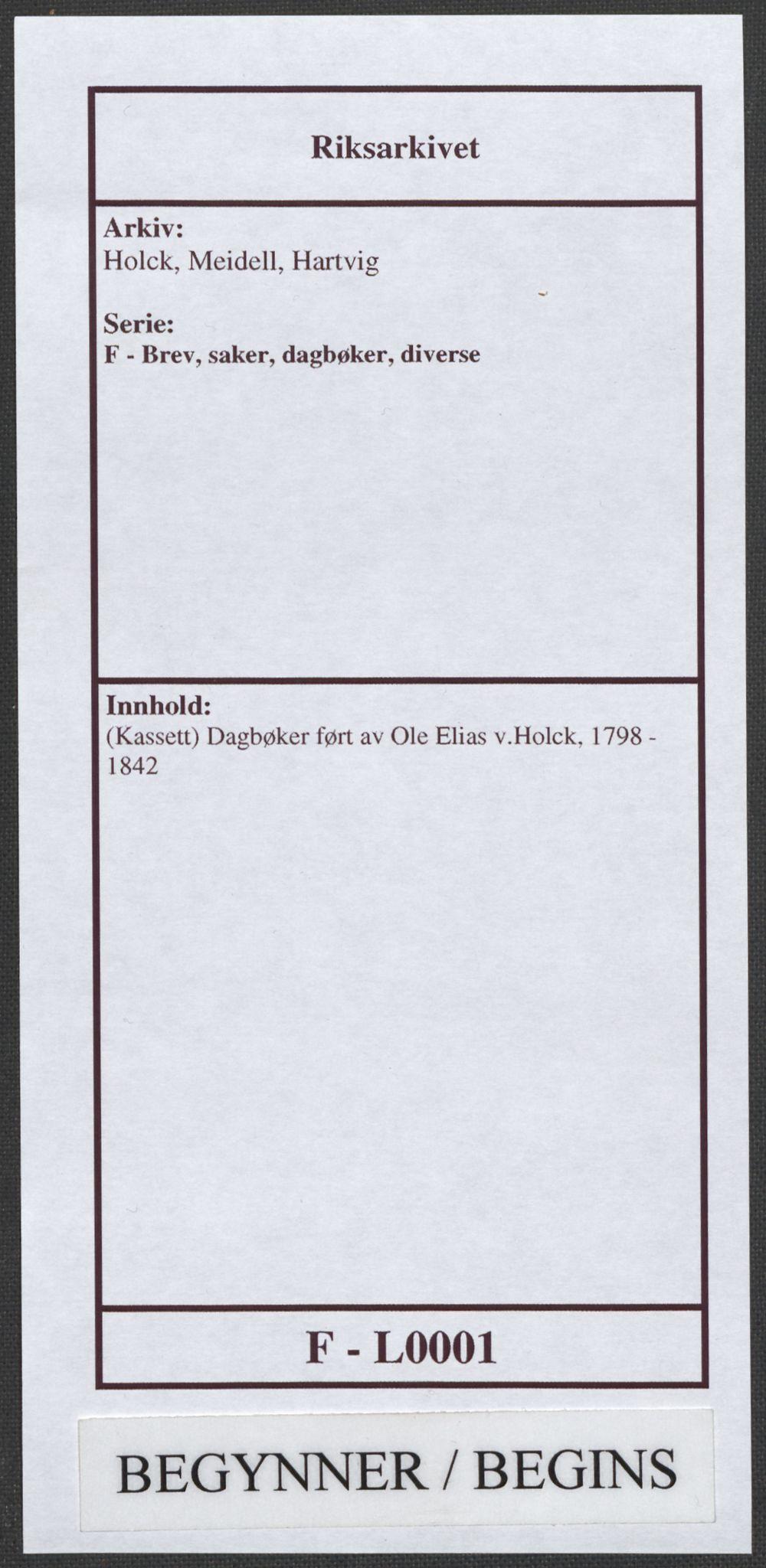 RA, Holck, Meidell, Hartvig, F/L0001: (Kassett) Dagbøker ført av Ole Elias v.Holck, 1798-1842, s. 1