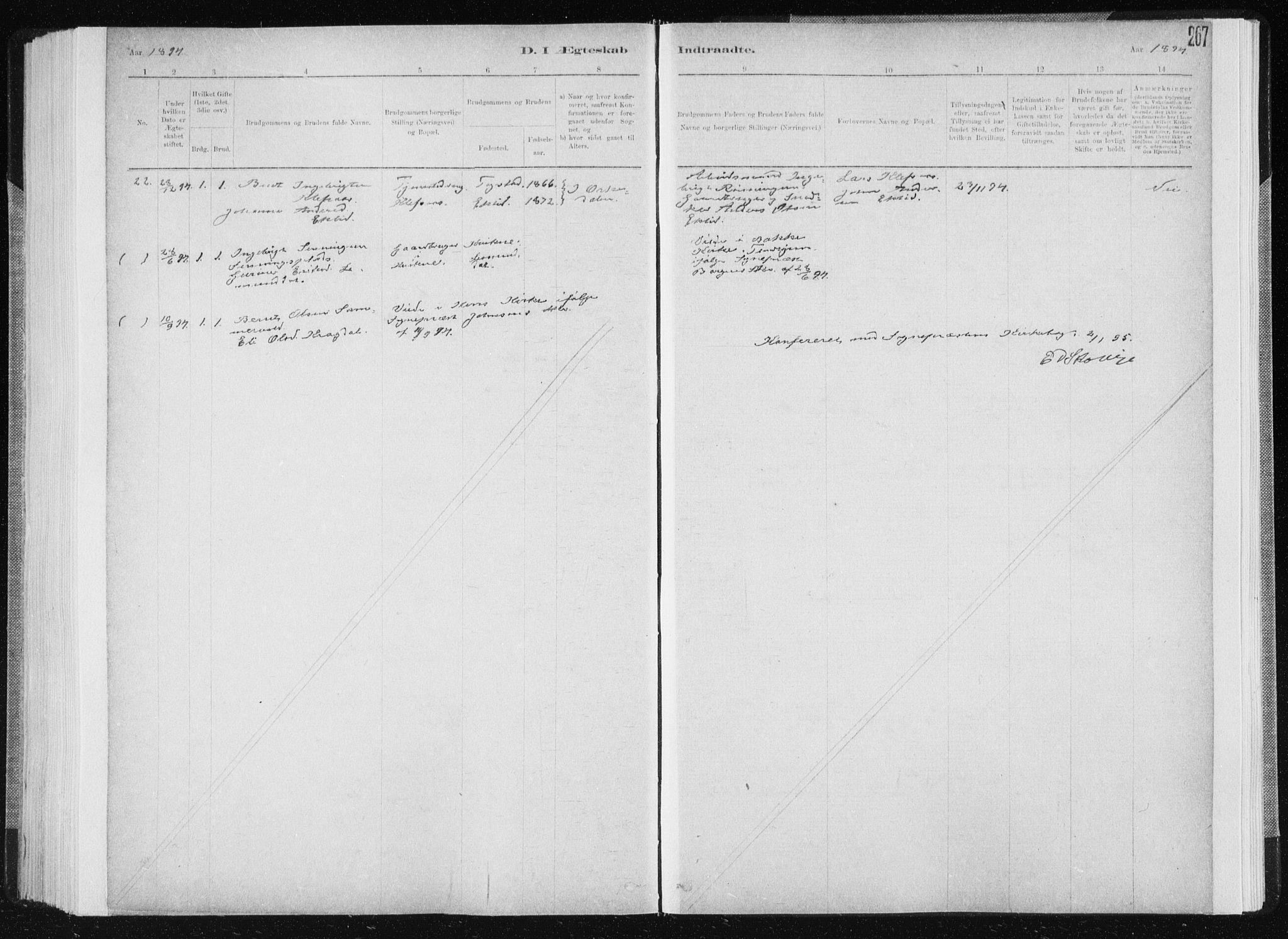 SAT, Ministerialprotokoller, klokkerbøker og fødselsregistre - Sør-Trøndelag, 668/L0818: Klokkerbok nr. 668C07, 1885-1898, s. 267