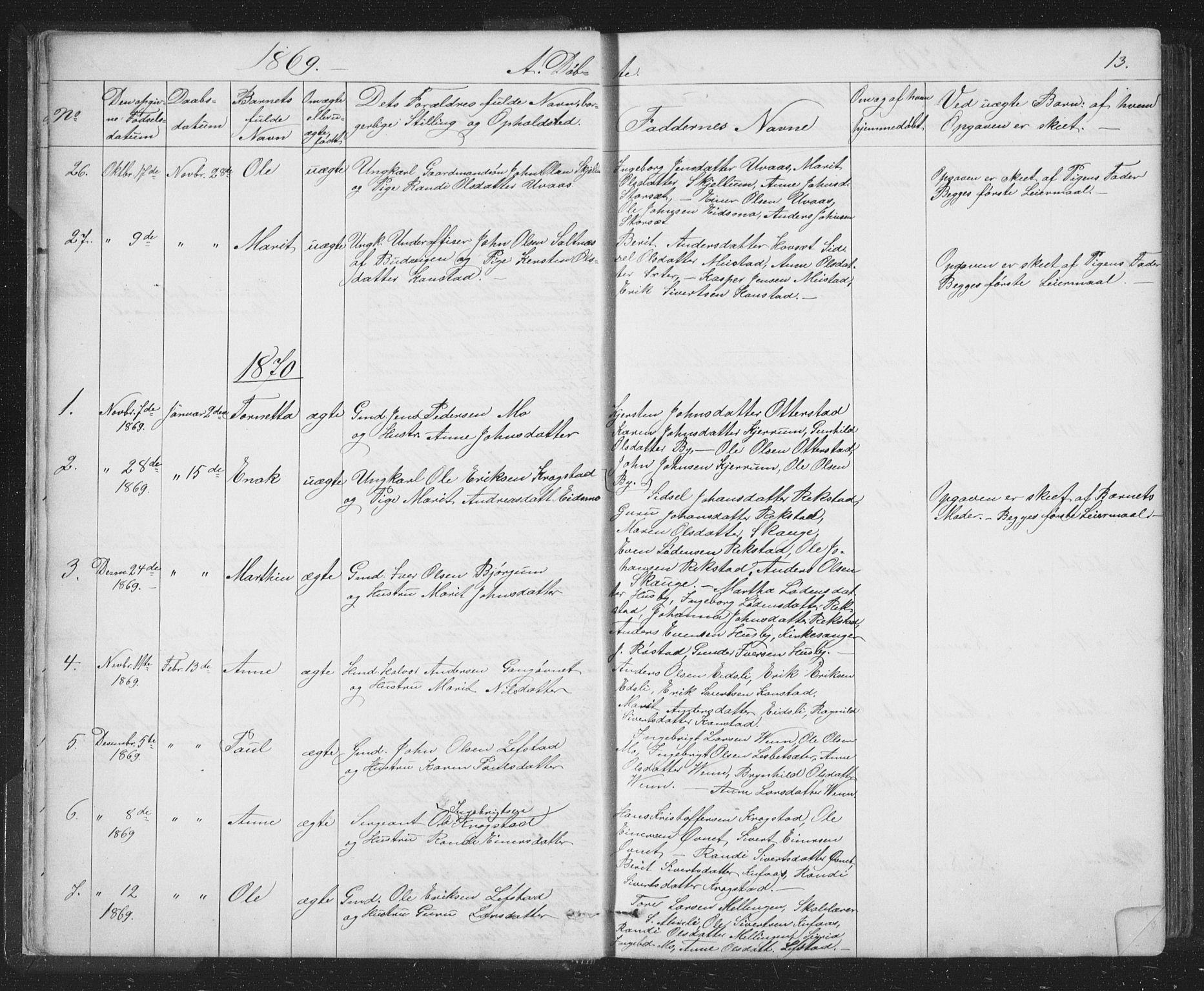 SAT, Ministerialprotokoller, klokkerbøker og fødselsregistre - Sør-Trøndelag, 667/L0798: Klokkerbok nr. 667C03, 1867-1929, s. 13