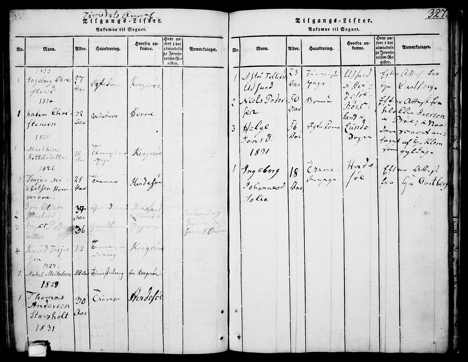 SAKO, Drangedal kirkebøker, F/Fa/L0005: Ministerialbok nr. 5 /2, 1814-1831, s. 327