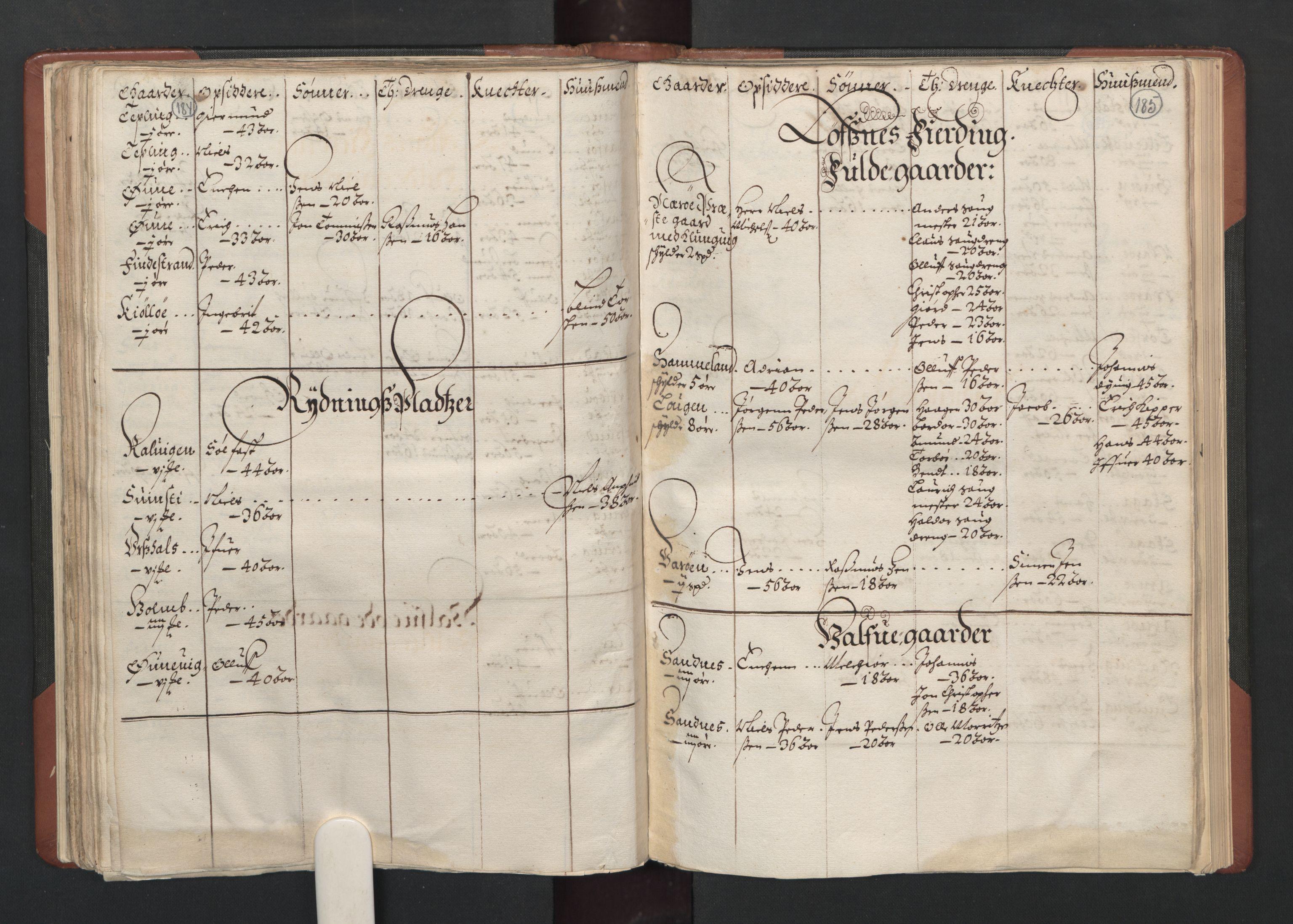 RA, Fogdenes og sorenskrivernes manntall 1664-1666, nr. 19: Fosen fogderi, Inderøy fogderi, Selbu fogderi, Namdal fogderi og Stjørdal fogderi, 1664-1665, s. 184-185