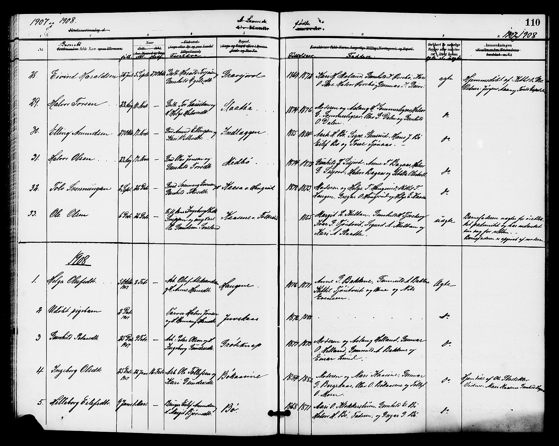SAKO, Bø kirkebøker, G/Ga/L0006: Klokkerbok nr. 6, 1898-1909, s. 110