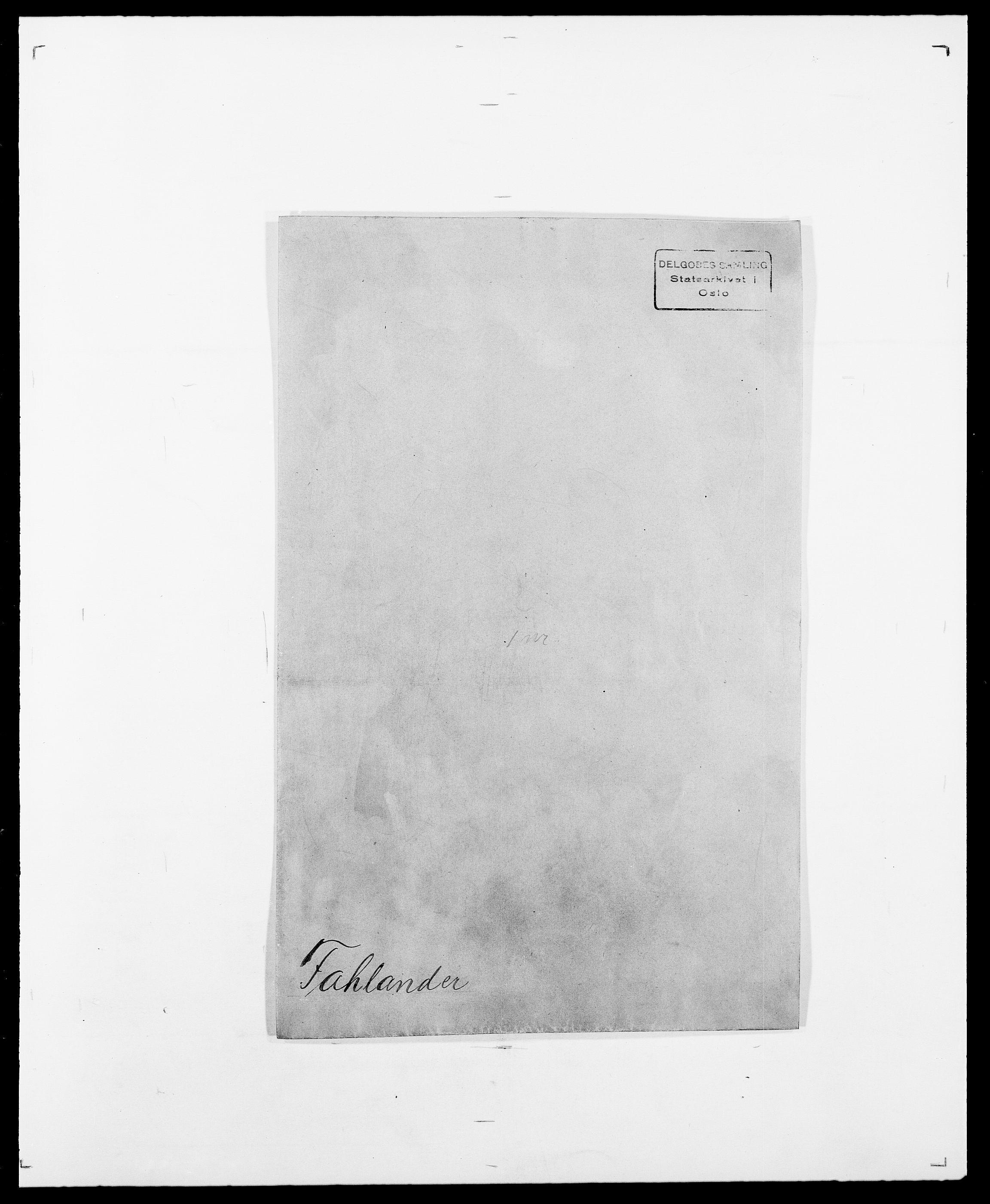 SAO, Delgobe, Charles Antoine - samling, D/Da/L0011: Fahlander - Flood, Flod, s. 1