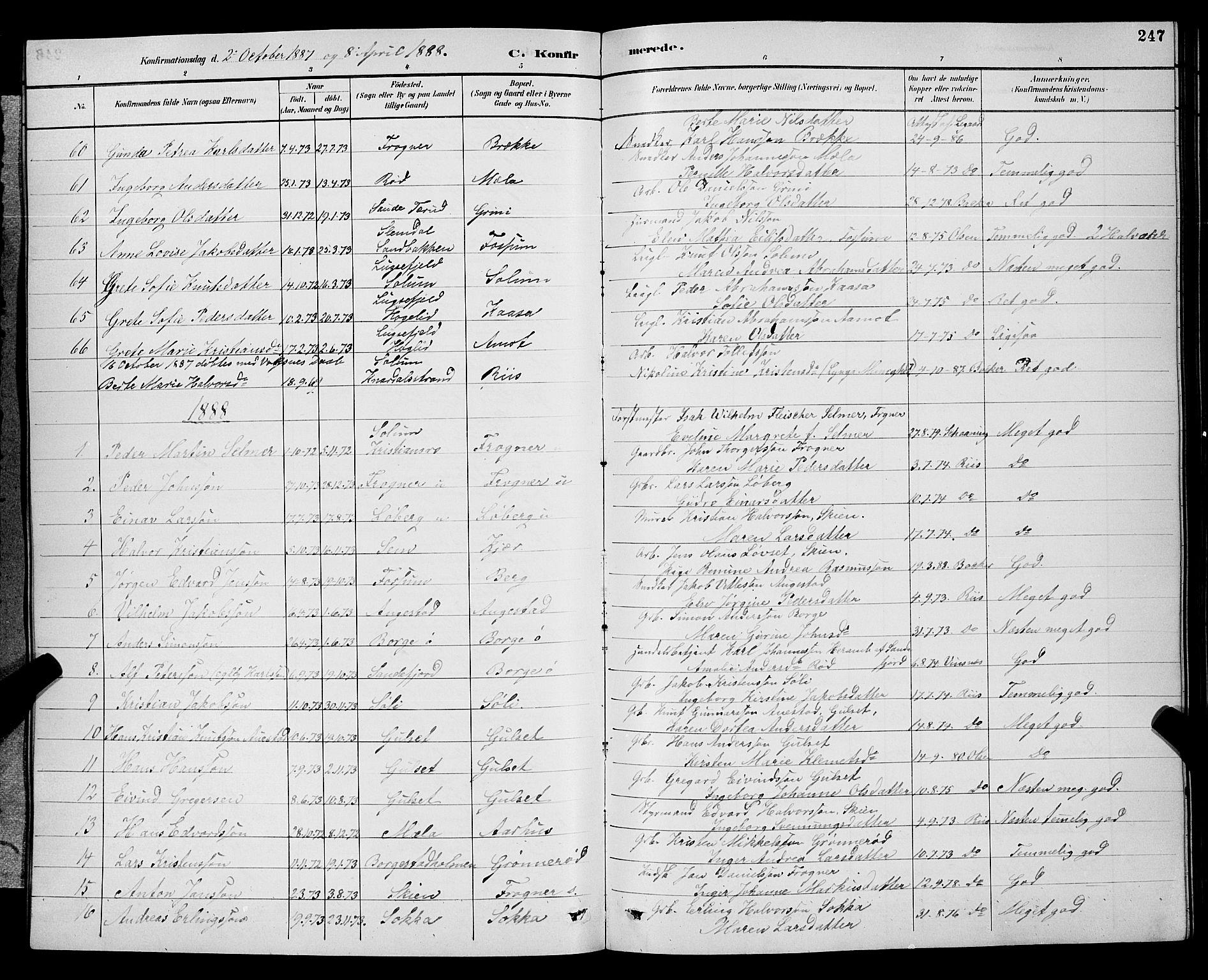 SAKO, Gjerpen kirkebøker, G/Ga/L0002: Klokkerbok nr. I 2, 1883-1900, s. 247