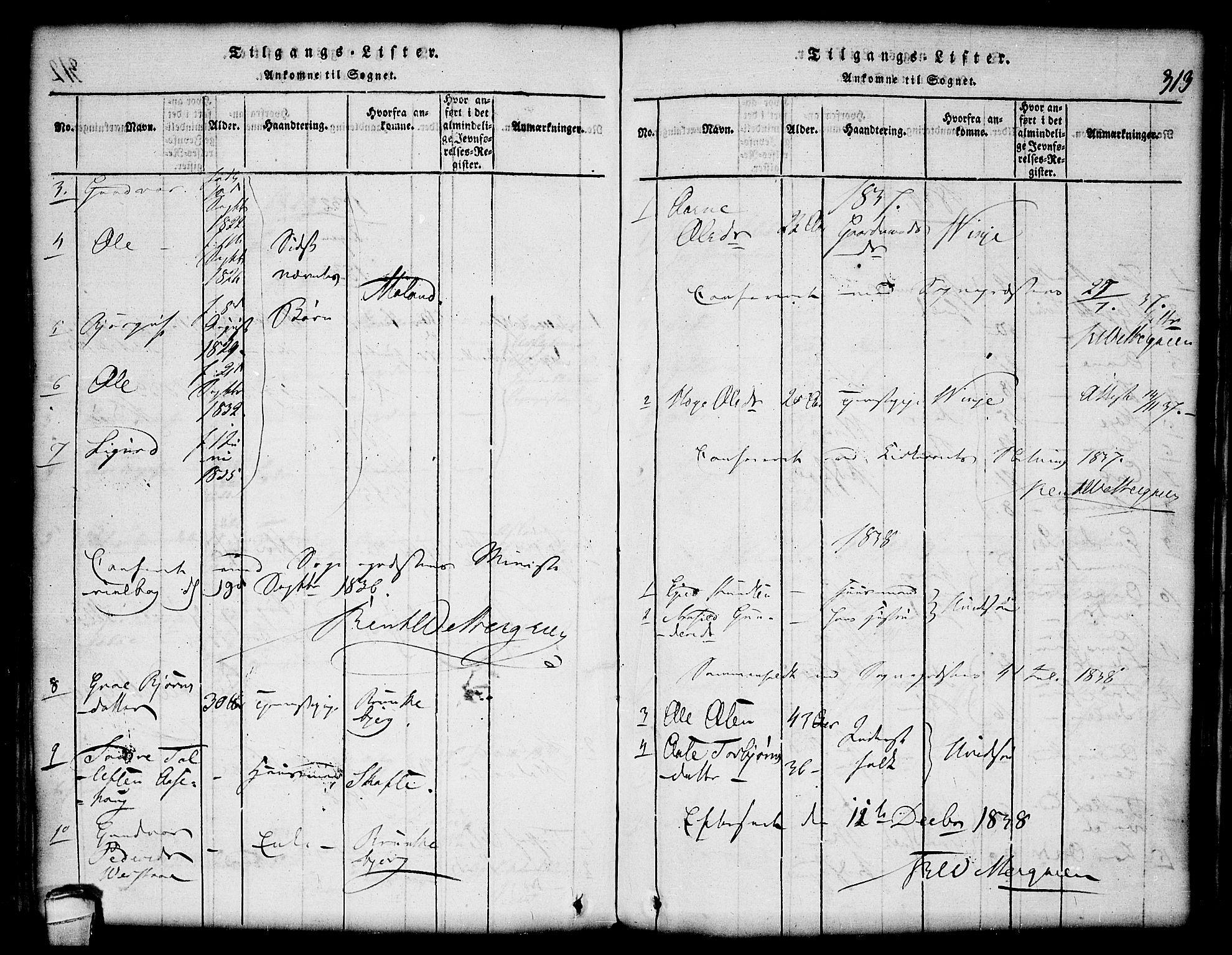 SAKO, Lårdal kirkebøker, G/Gc/L0001: Klokkerbok nr. III 1, 1815-1854, s. 313