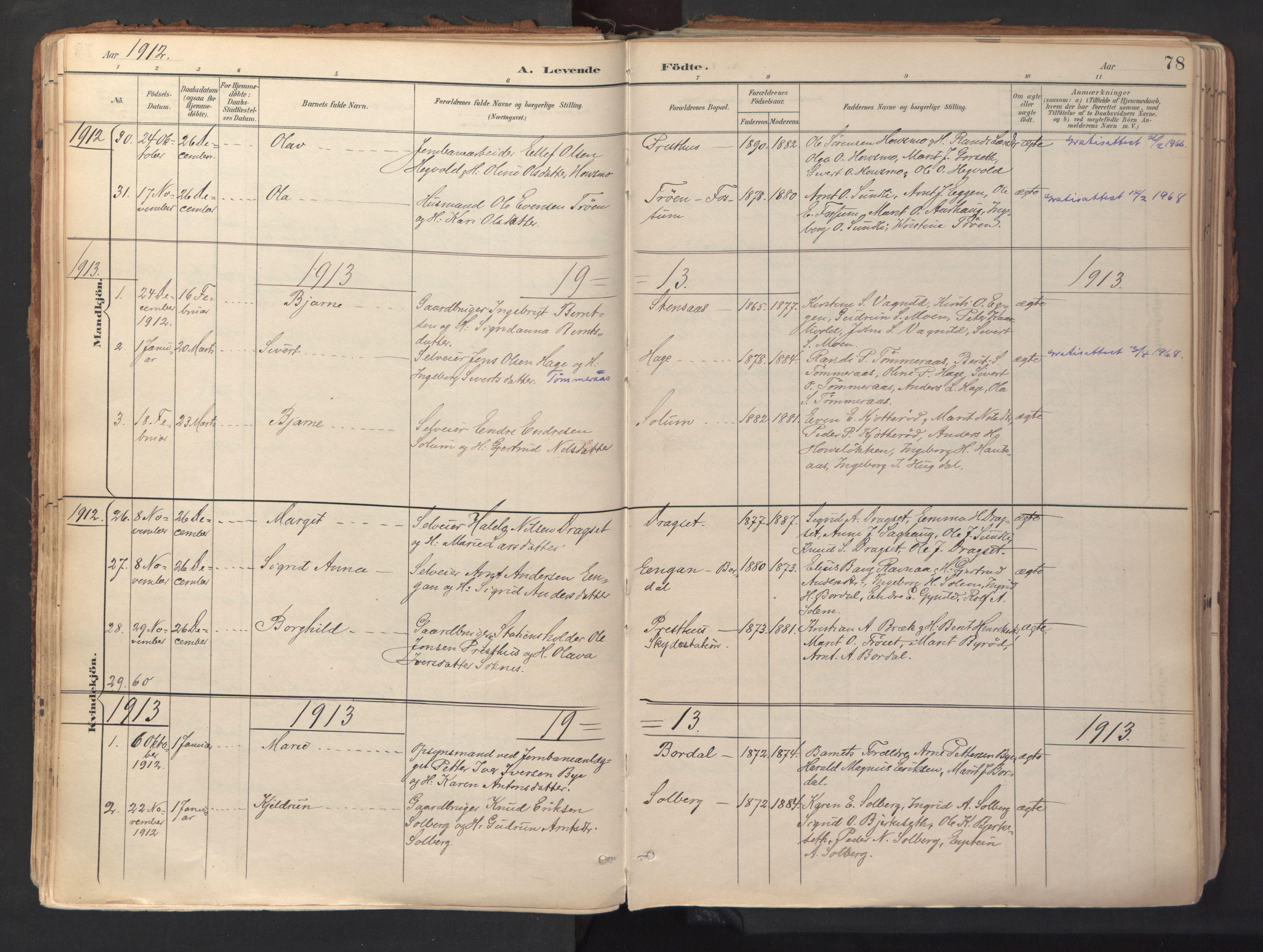 SAT, Ministerialprotokoller, klokkerbøker og fødselsregistre - Sør-Trøndelag, 689/L1041: Ministerialbok nr. 689A06, 1891-1923, s. 78