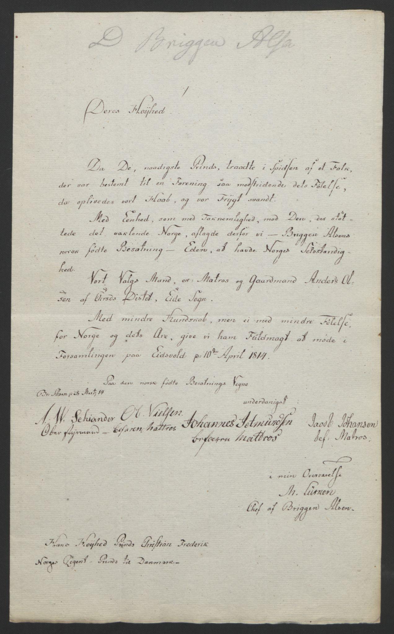 RA, Statsrådssekretariatet, D/Db/L0007: Fullmakter for Eidsvollsrepresentantene i 1814. , 1814, s. 132