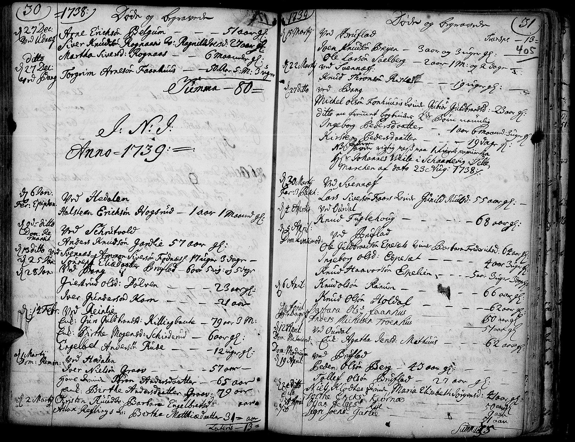 SAH, Aurdal prestekontor, Ministerialbok nr. 4, 1730-1762, s. 30-31