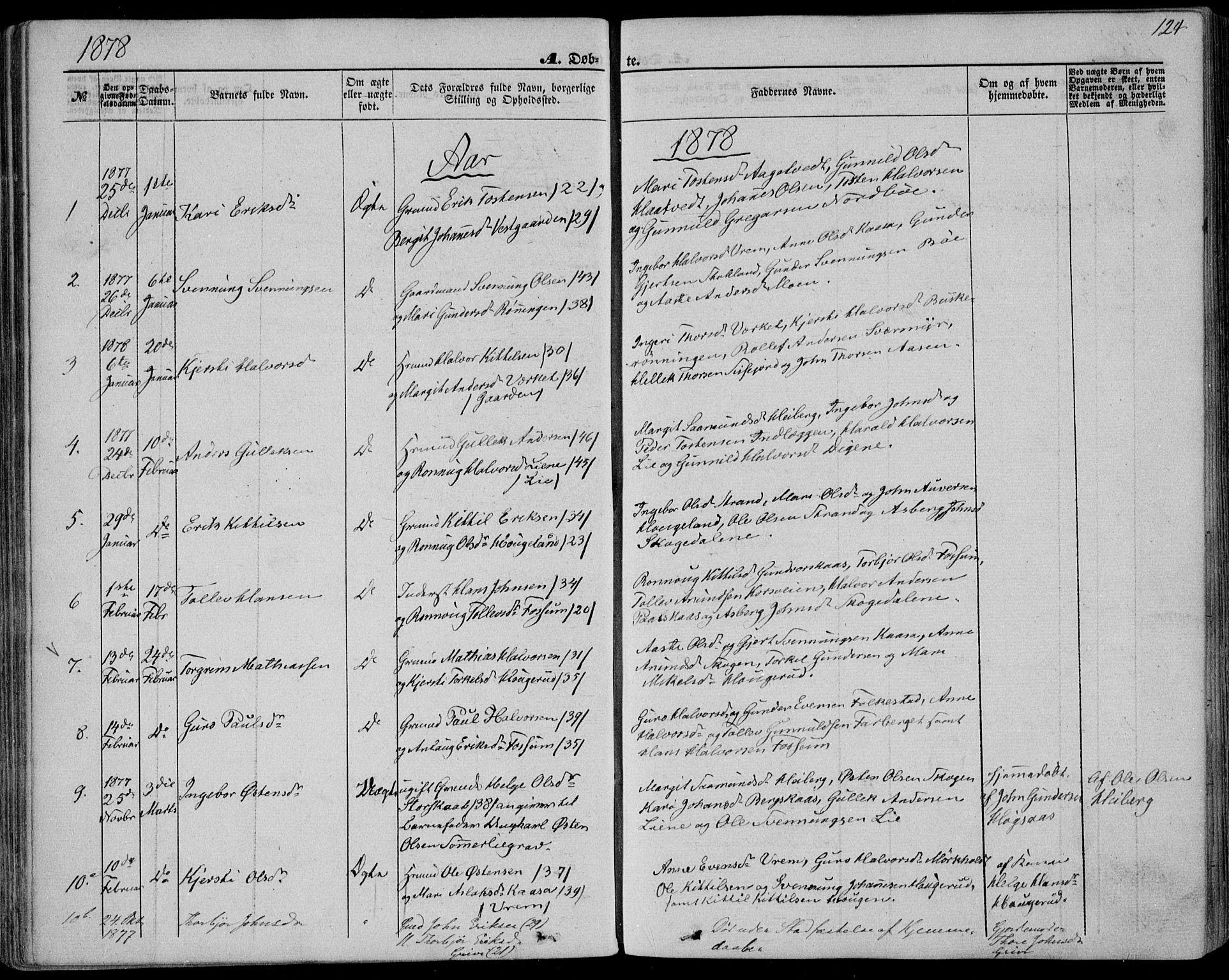 SAKO, Bø kirkebøker, F/Fa/L0009: Ministerialbok nr. 9, 1862-1879, s. 124