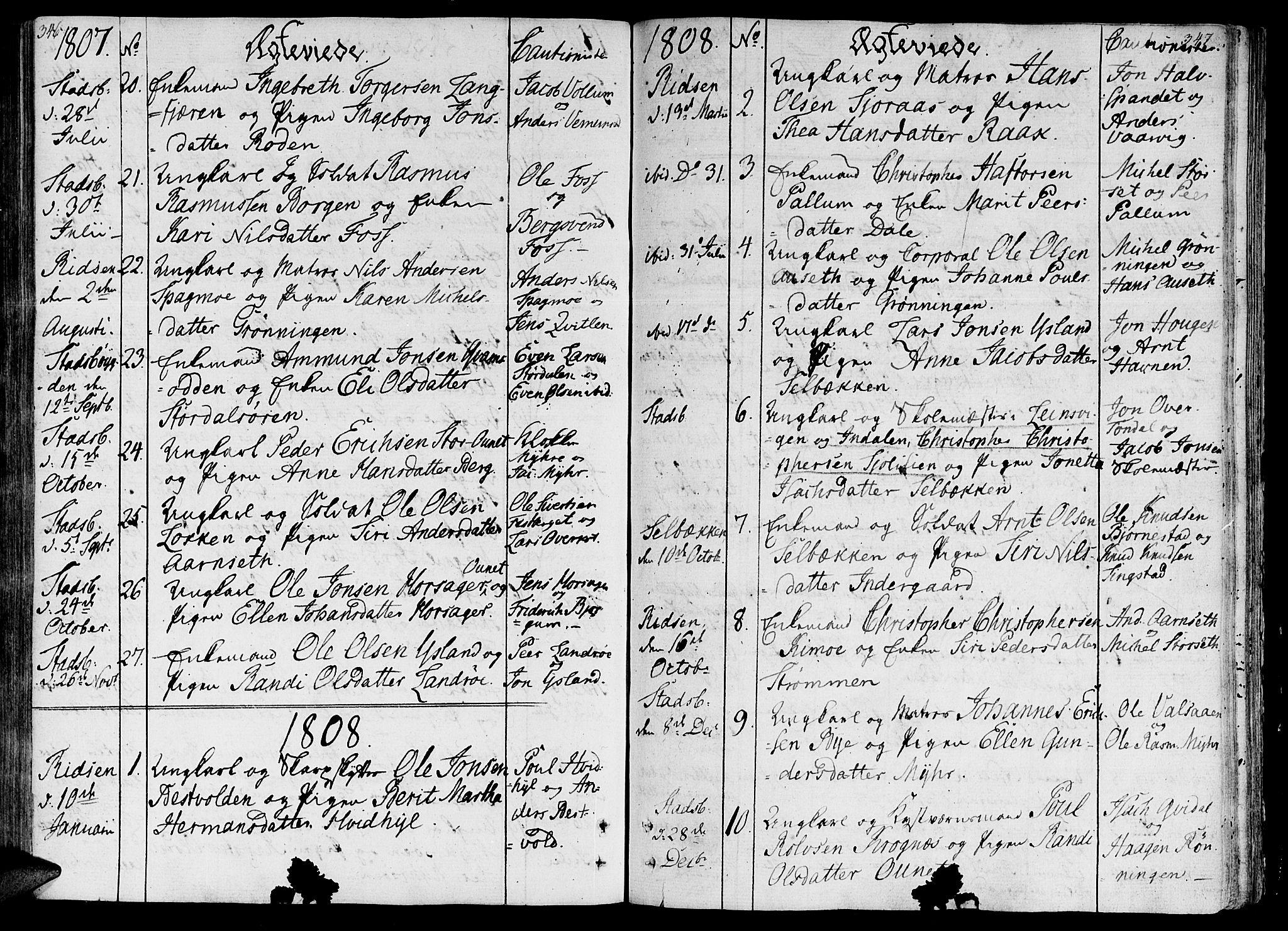SAT, Ministerialprotokoller, klokkerbøker og fødselsregistre - Sør-Trøndelag, 646/L0607: Ministerialbok nr. 646A05, 1806-1815, s. 346-347