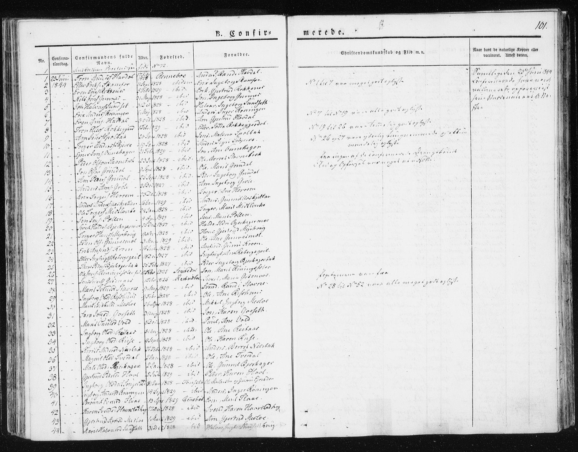 SAT, Ministerialprotokoller, klokkerbøker og fødselsregistre - Sør-Trøndelag, 674/L0869: Ministerialbok nr. 674A01, 1829-1860, s. 101