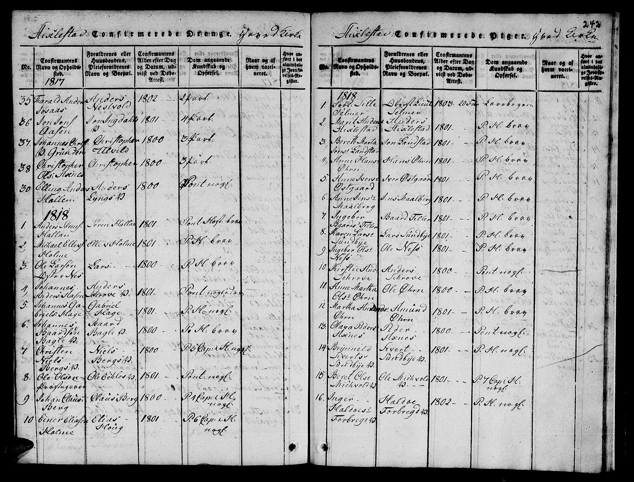 SAT, Ministerialprotokoller, klokkerbøker og fødselsregistre - Nord-Trøndelag, 723/L0251: Klokkerbok nr. 723C01 /1, 1816-1831, s. 242