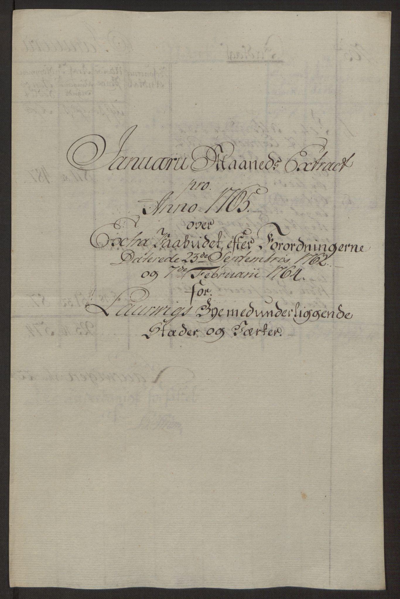 RA, Rentekammeret inntil 1814, Reviderte regnskaper, Byregnskaper, R/Ri/L0183: [I4] Kontribusjonsregnskap, 1762-1768, s. 254