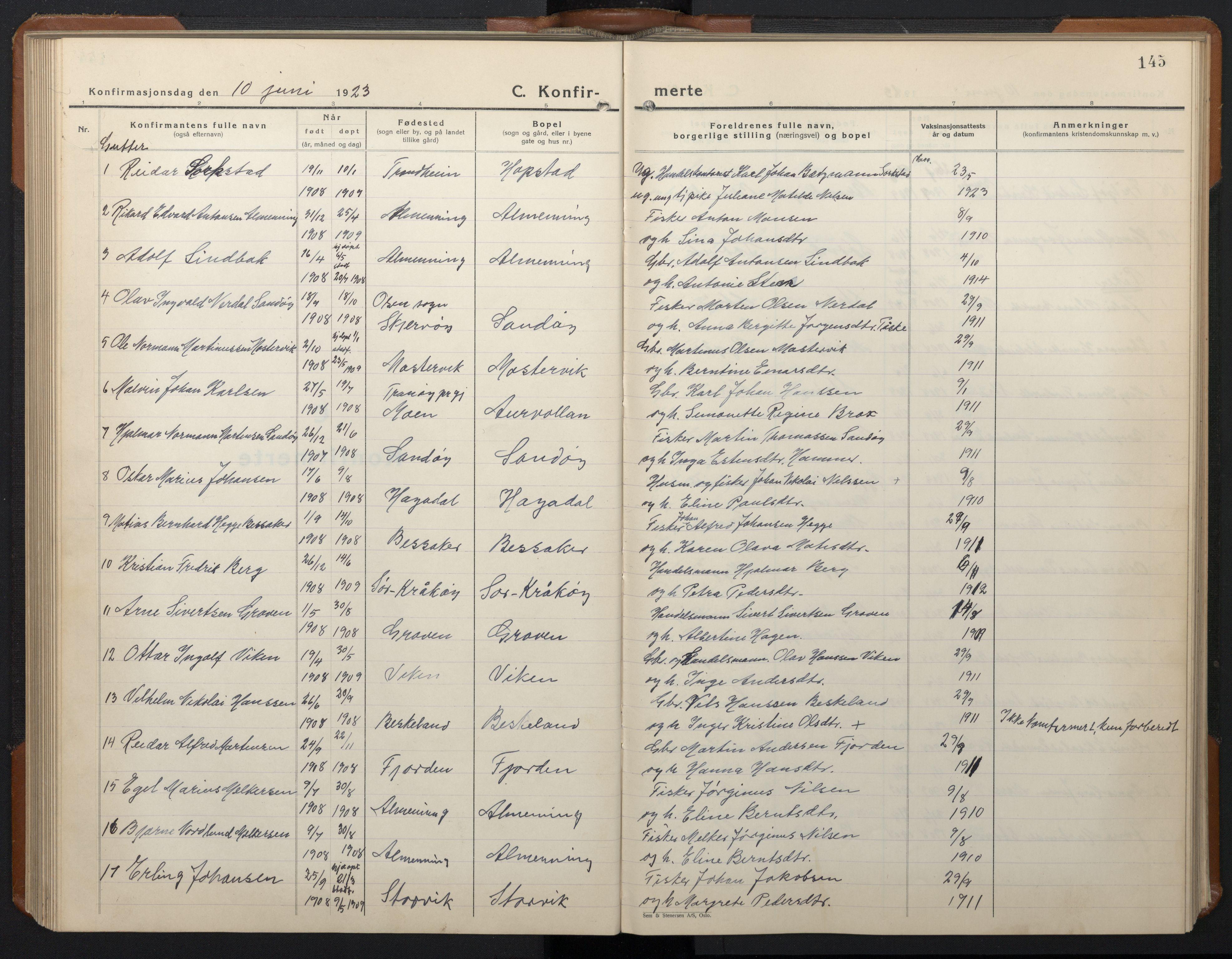 SAT, Ministerialprotokoller, klokkerbøker og fødselsregistre - Sør-Trøndelag, 657/L0718: Klokkerbok nr. 657C05, 1923-1948, s. 145