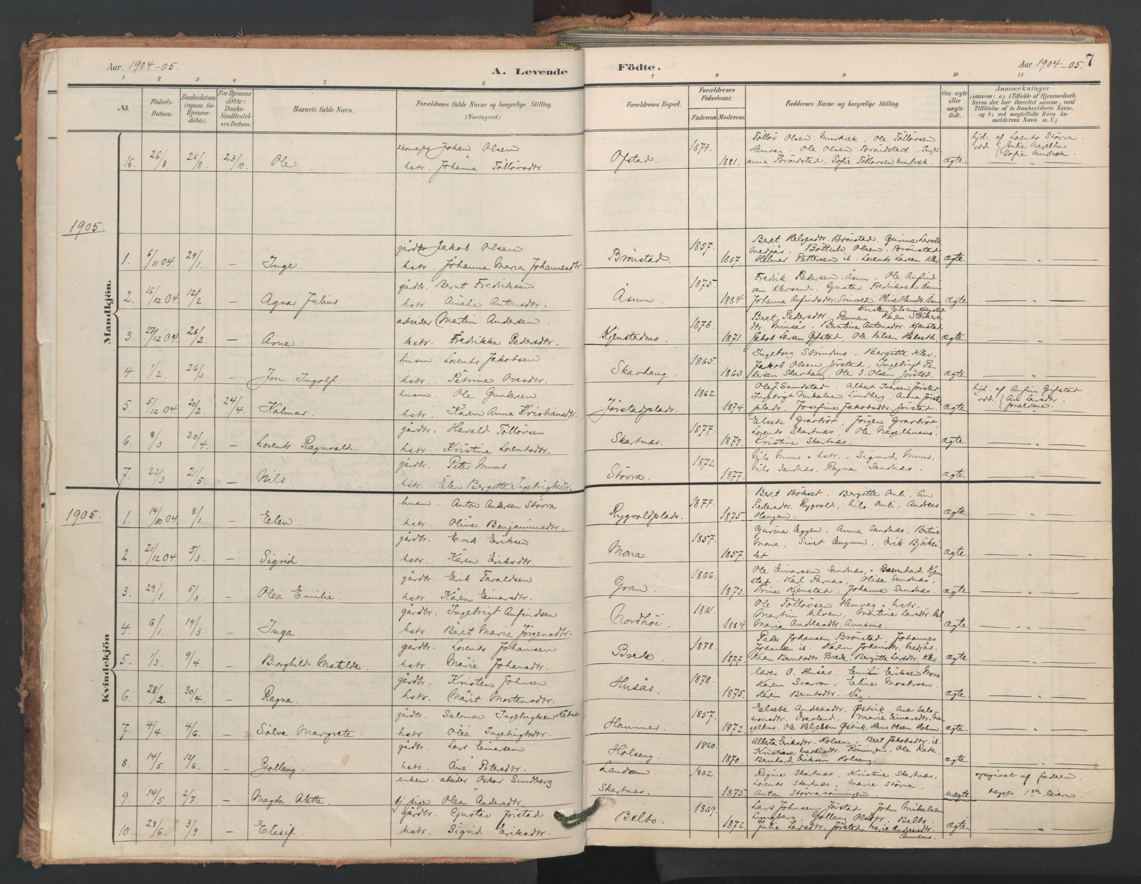 SAT, Ministerialprotokoller, klokkerbøker og fødselsregistre - Nord-Trøndelag, 749/L0477: Ministerialbok nr. 749A11, 1902-1927, s. 7