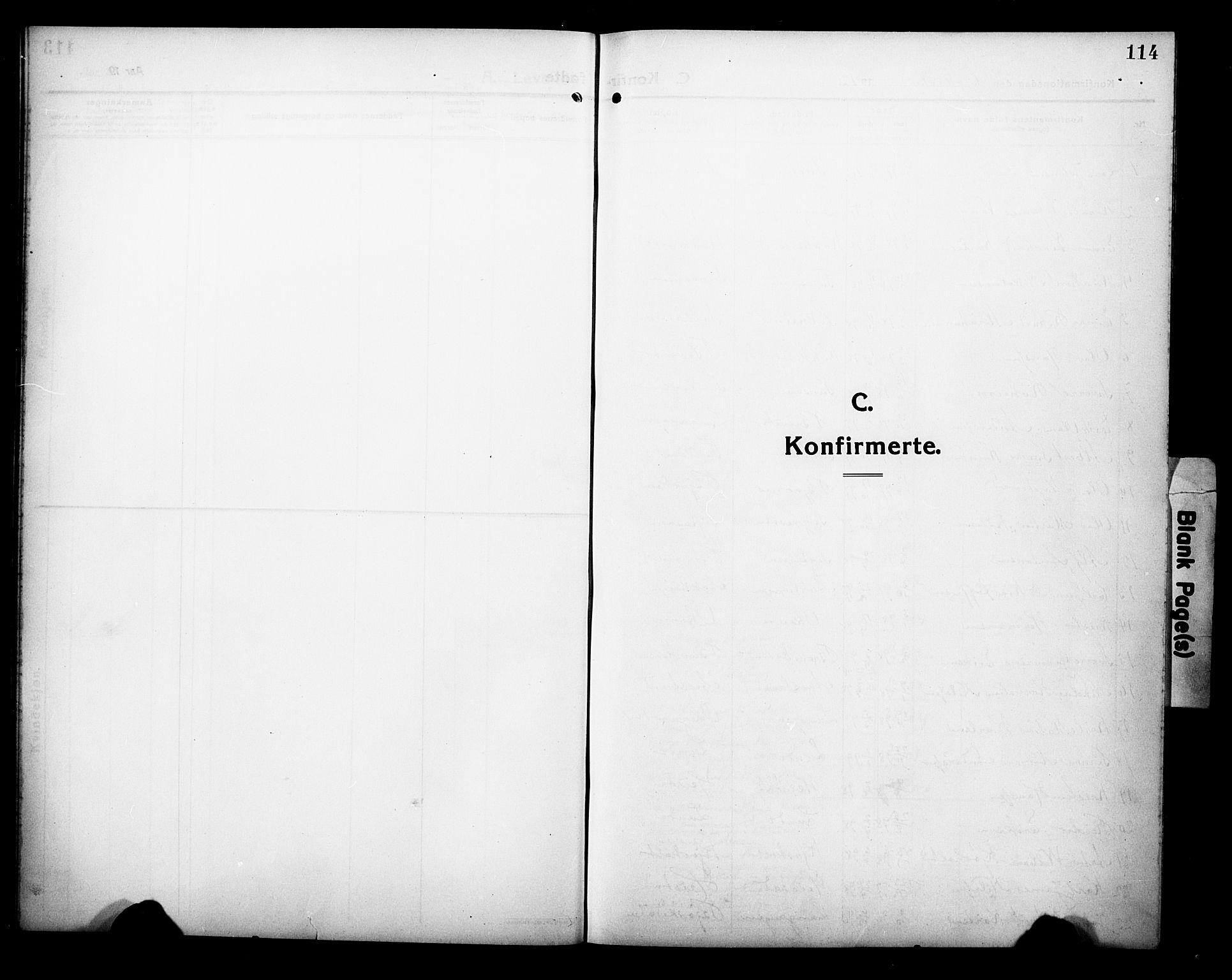 SAKO, Eidanger kirkebøker, G/Ga/L0004: Klokkerbok nr. 4, 1912-1927, s. 114