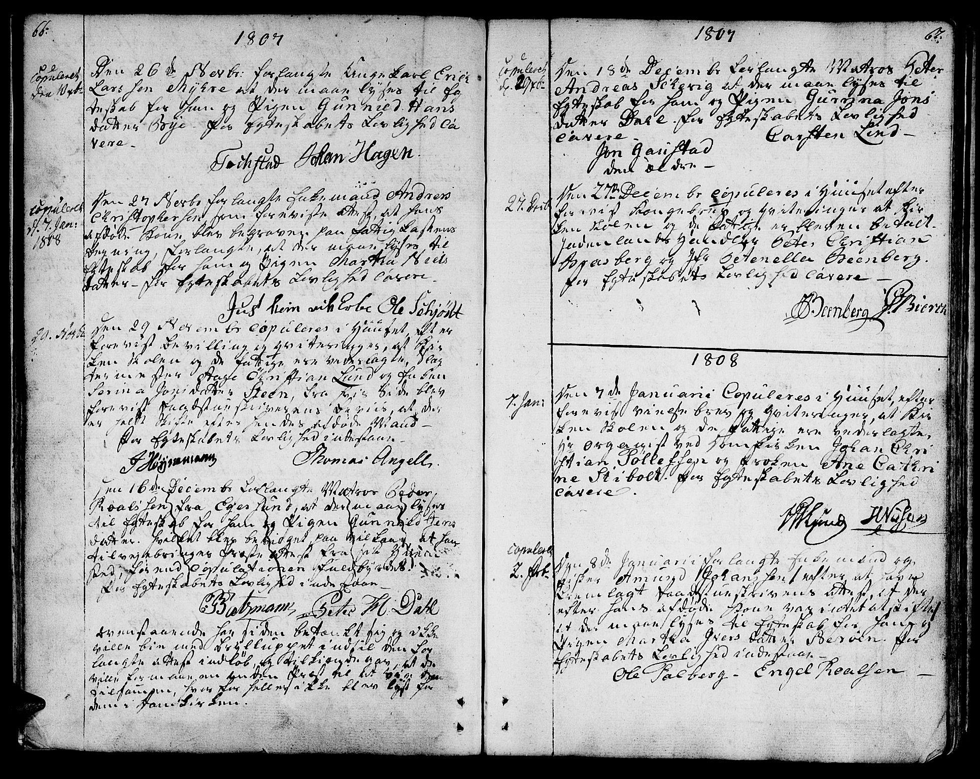 SAT, Ministerialprotokoller, klokkerbøker og fødselsregistre - Sør-Trøndelag, 601/L0042: Ministerialbok nr. 601A10, 1802-1830, s. 66-67