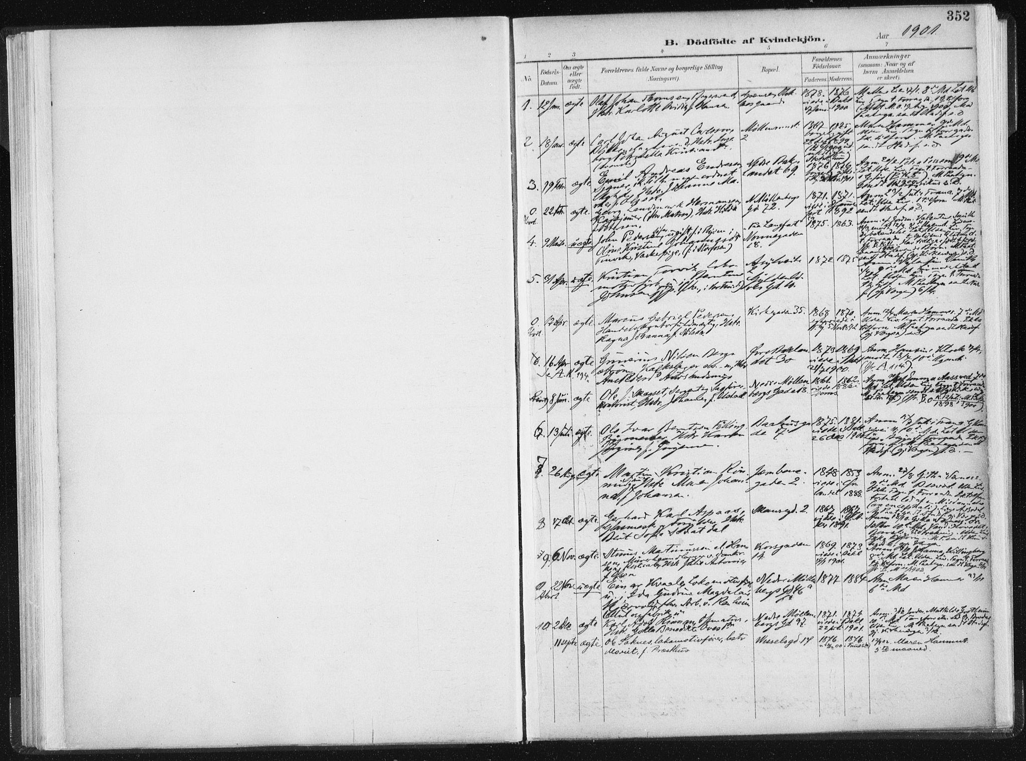 SAT, Ministerialprotokoller, klokkerbøker og fødselsregistre - Sør-Trøndelag, 604/L0200: Ministerialbok nr. 604A20II, 1901-1908, s. 352