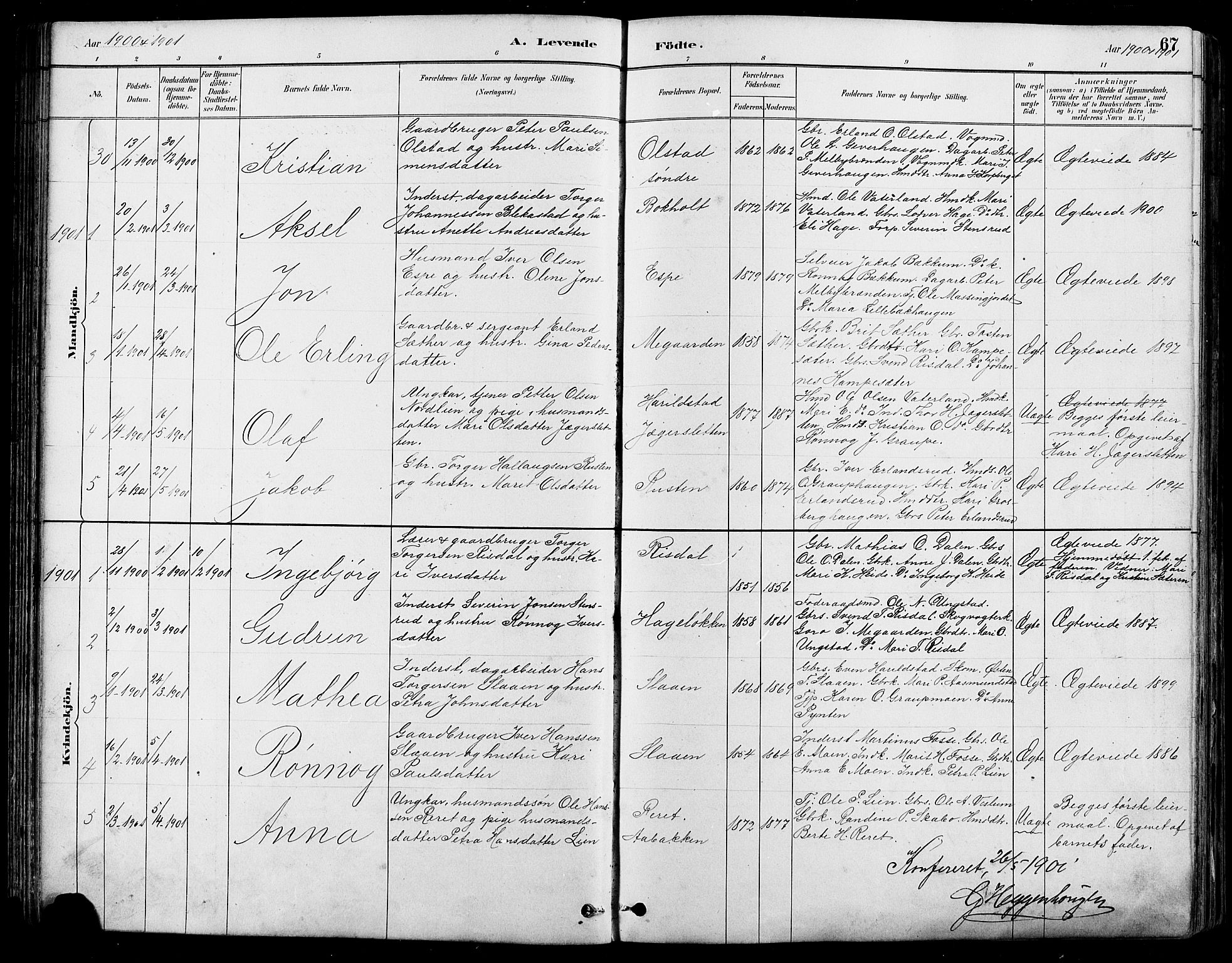 SAH, Nord-Fron prestekontor, Klokkerbok nr. 5, 1884-1914, s. 67