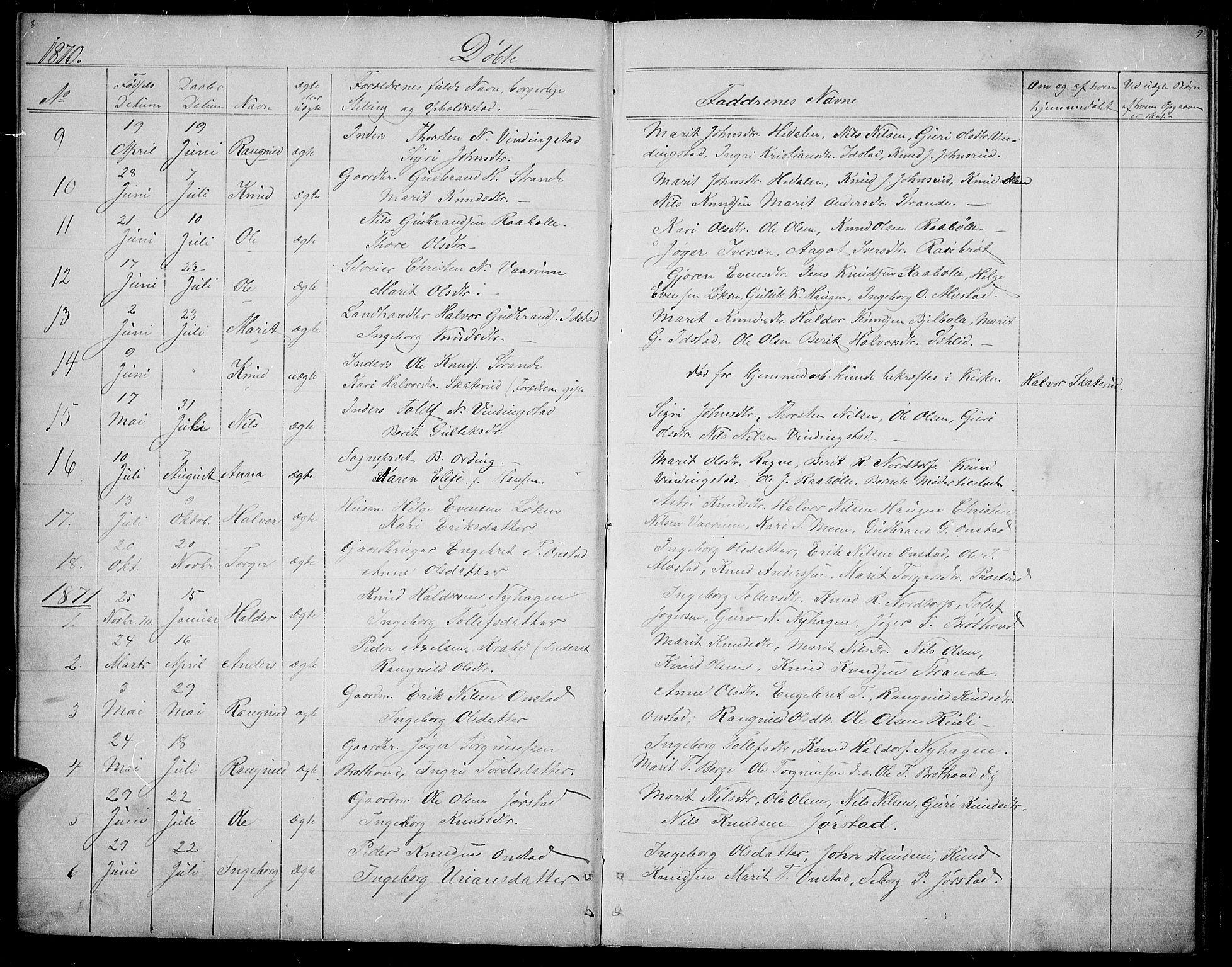 SAH, Øystre Slidre prestekontor, Klokkerbok nr. 2, 1866-1886, s. 8-9