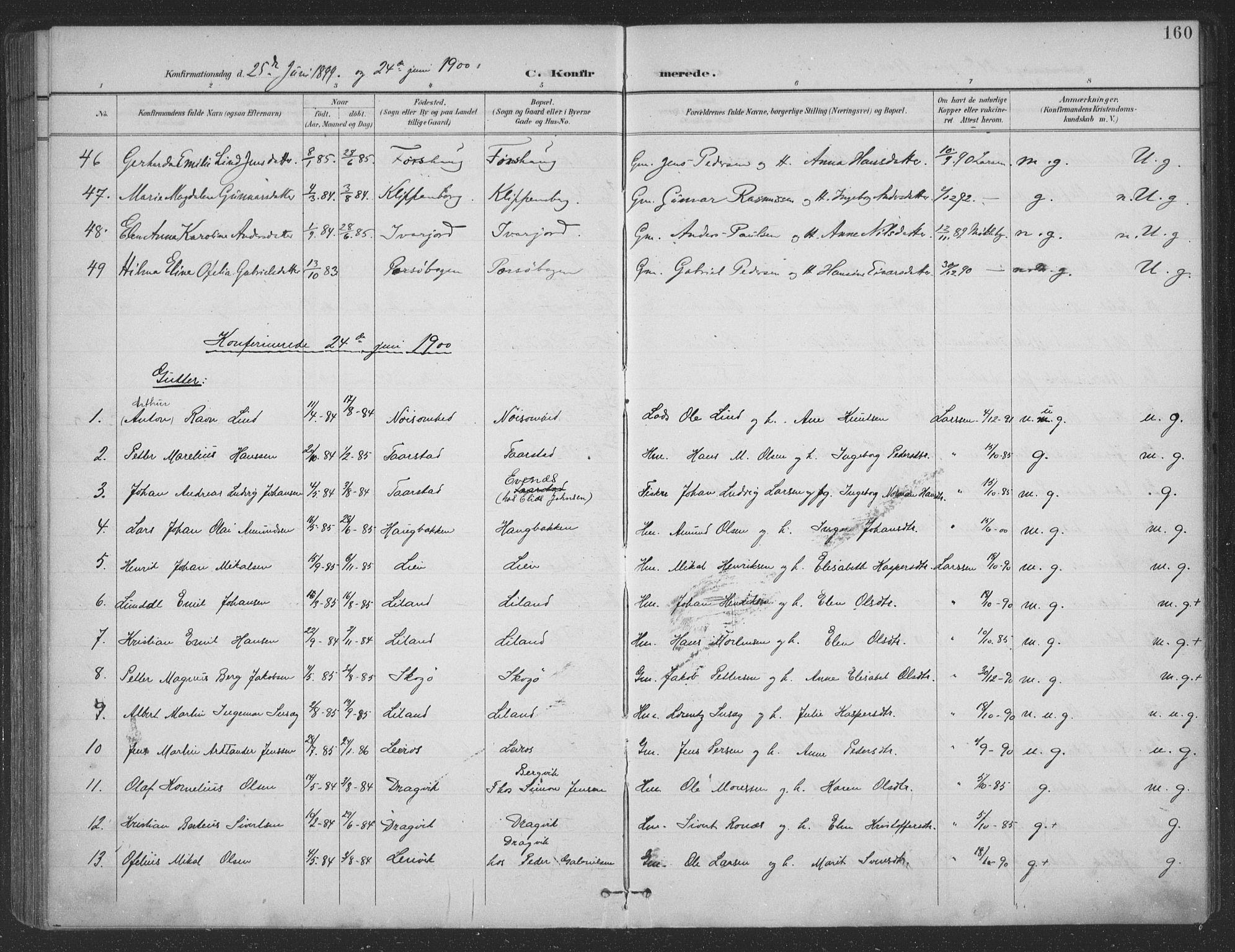 SAT, Ministerialprotokoller, klokkerbøker og fødselsregistre - Nordland, 863/L0899: Ministerialbok nr. 863A11, 1897-1906, s. 160