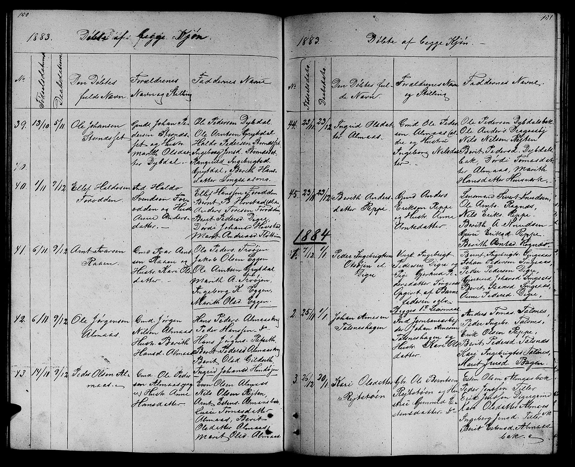 SAT, Ministerialprotokoller, klokkerbøker og fødselsregistre - Sør-Trøndelag, 688/L1027: Klokkerbok nr. 688C02, 1861-1889, s. 150-151
