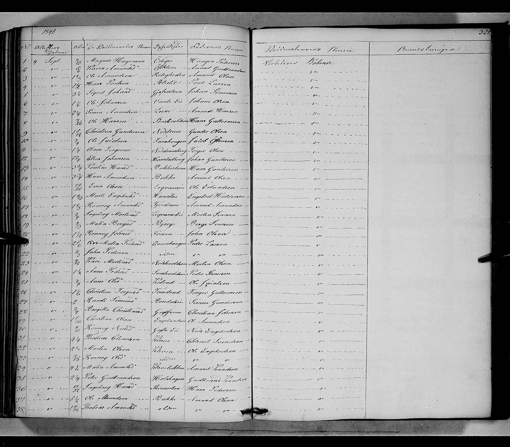SAH, Gausdal prestekontor, Ministerialbok nr. 7, 1840-1850, s. 321