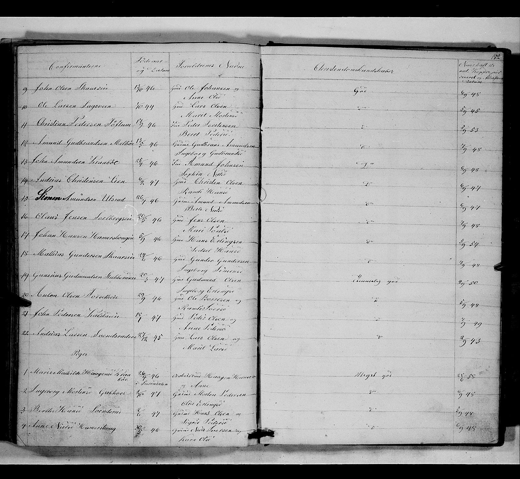 SAH, Gausdal prestekontor, Klokkerbok nr. 5, 1846-1867, s. 182