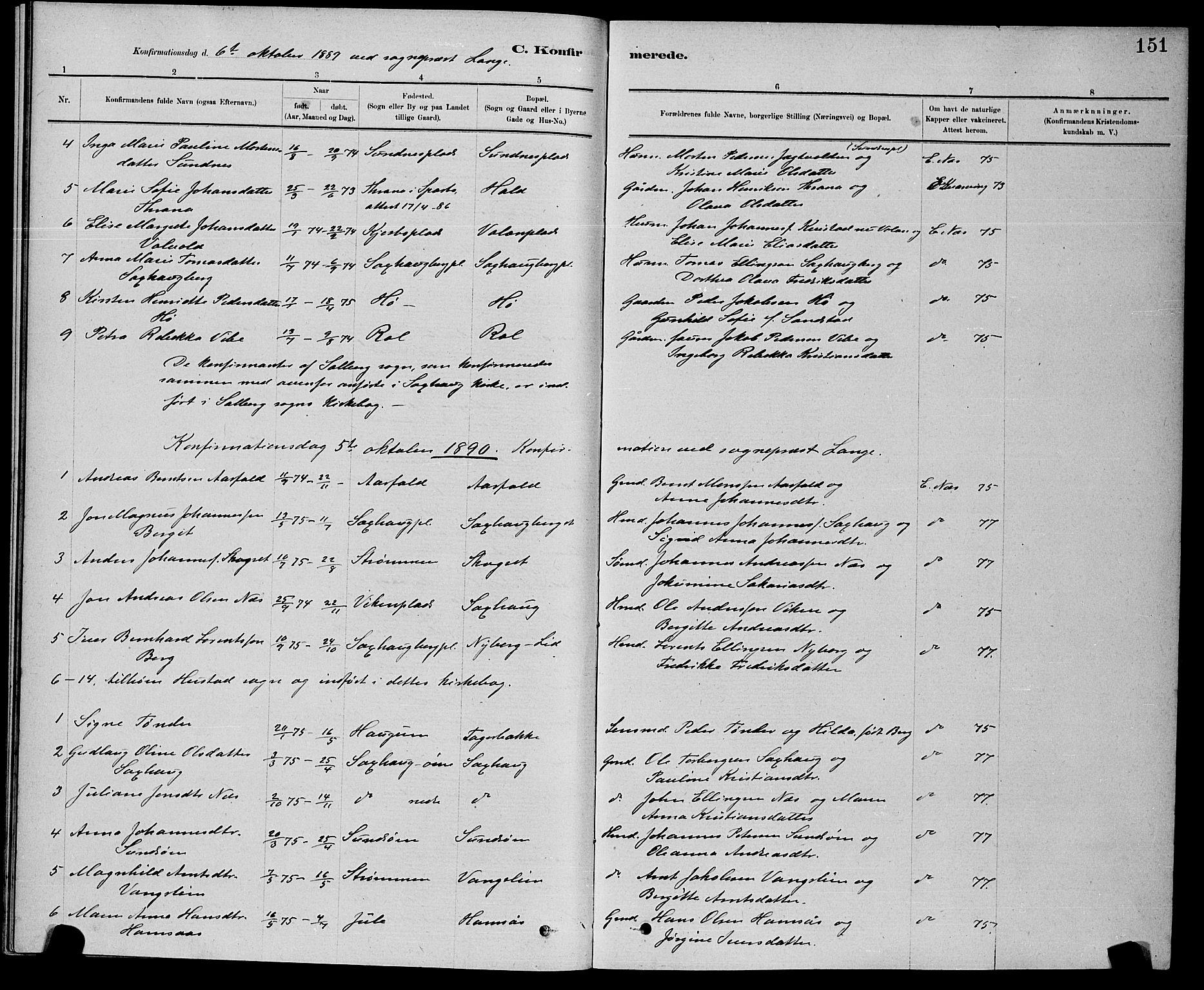 SAT, Ministerialprotokoller, klokkerbøker og fødselsregistre - Nord-Trøndelag, 730/L0301: Klokkerbok nr. 730C04, 1880-1897, s. 151