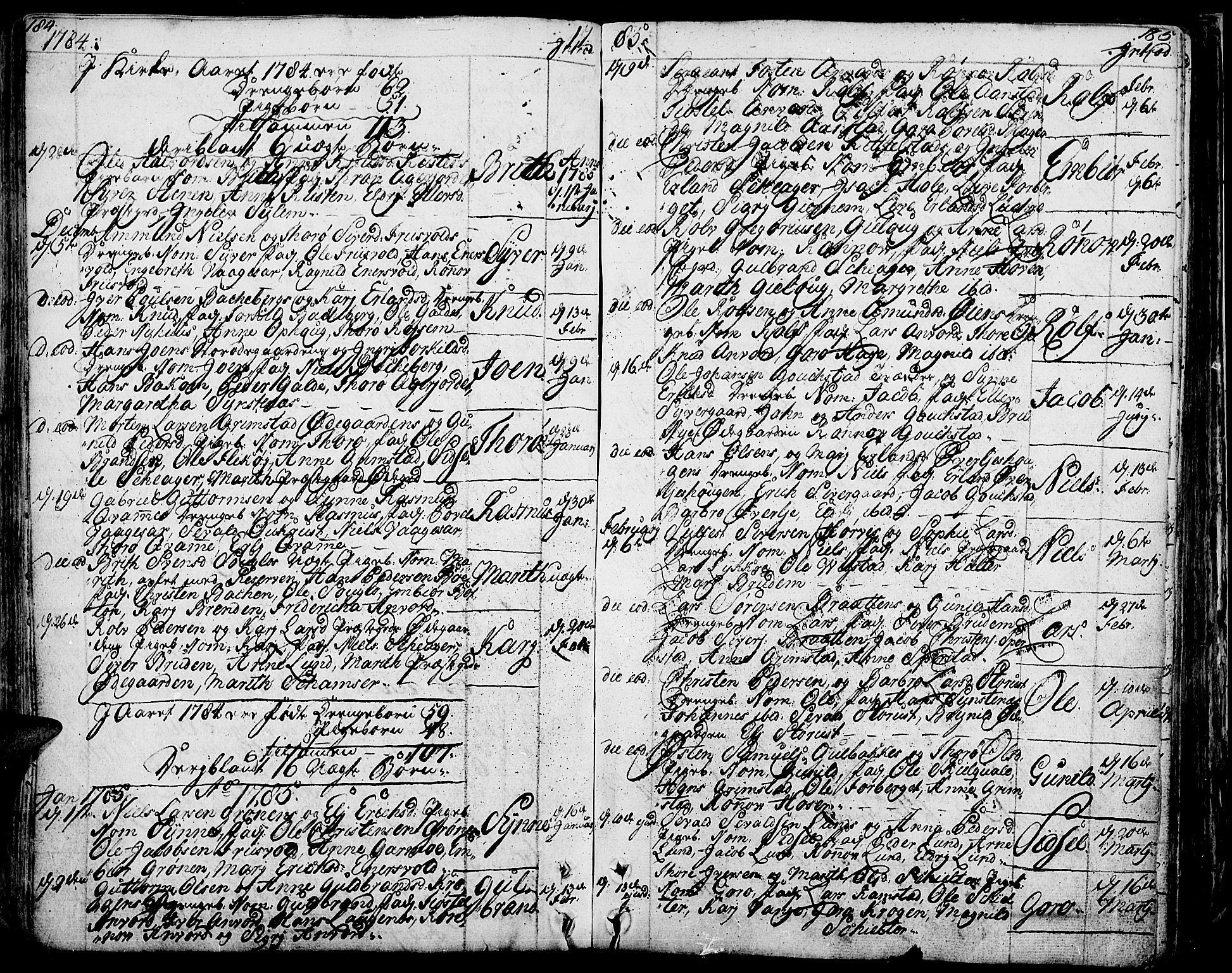 SAH, Lom prestekontor, K/L0002: Ministerialbok nr. 2, 1749-1801, s. 184-185