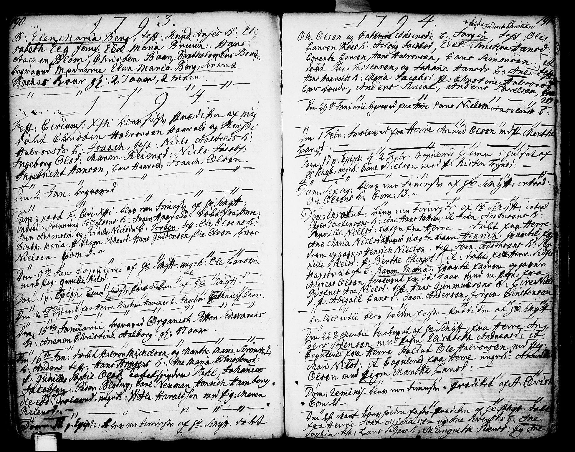 SAKO, Porsgrunn kirkebøker , F/Fa/L0002: Ministerialbok nr. 2, 1764-1814, s. 190-191