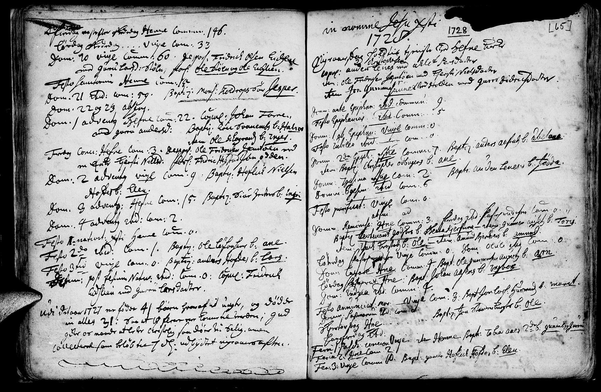SAT, Ministerialprotokoller, klokkerbøker og fødselsregistre - Sør-Trøndelag, 630/L0488: Ministerialbok nr. 630A01, 1717-1756, s. 64-65