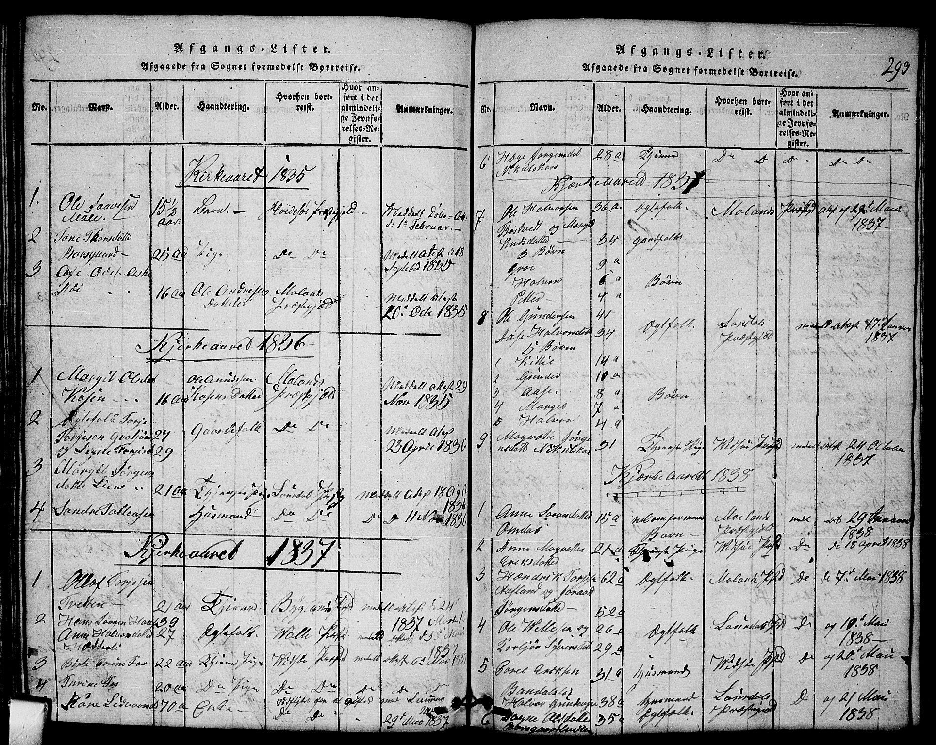 SAKO, Mo kirkebøker, G/Gb/L0001: Klokkerbok nr. II 1, 1814-1843, s. 293