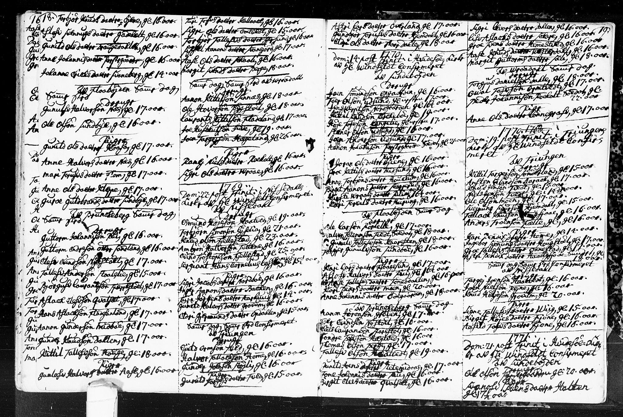 SAKO, Kviteseid kirkebøker, F/Fa/L0001: Ministerialbok nr. I 1, 1754-1773, s. 18-19