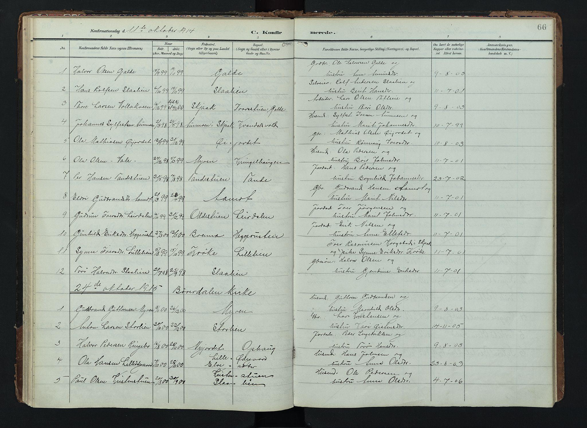 SAH, Lom prestekontor, K/L0012: Ministerialbok nr. 12, 1904-1928, s. 66