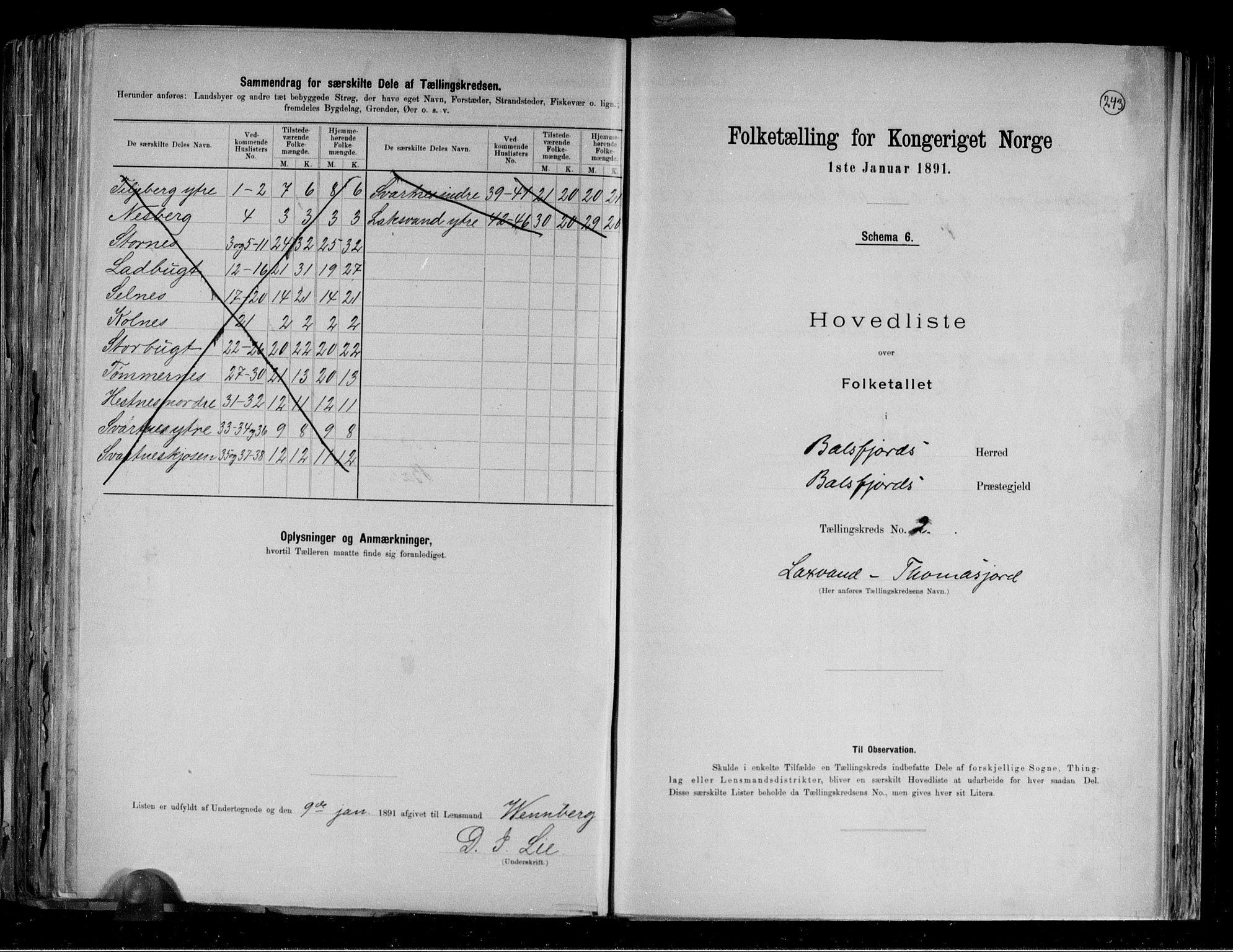 RA, Folketelling 1891 for 1933 Balsfjord herred, 1891, s. 7