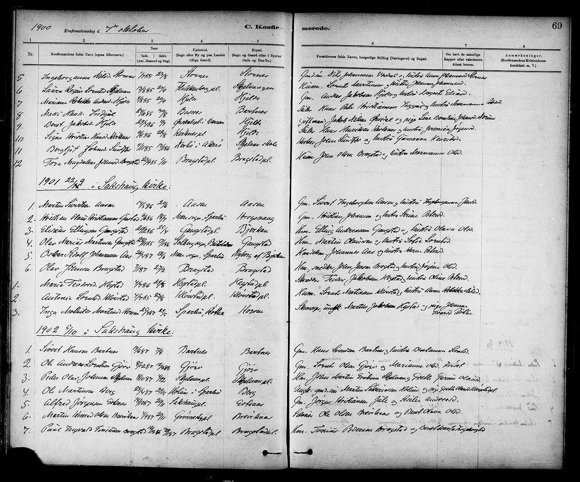 SAT, Ministerialprotokoller, klokkerbøker og fødselsregistre - Nord-Trøndelag, 732/L0318: Klokkerbok nr. 732C02, 1881-1911, s. 69