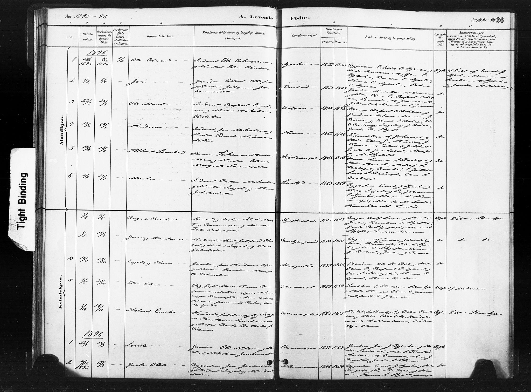 SAT, Ministerialprotokoller, klokkerbøker og fødselsregistre - Nord-Trøndelag, 736/L0361: Ministerialbok nr. 736A01, 1884-1906, s. 26