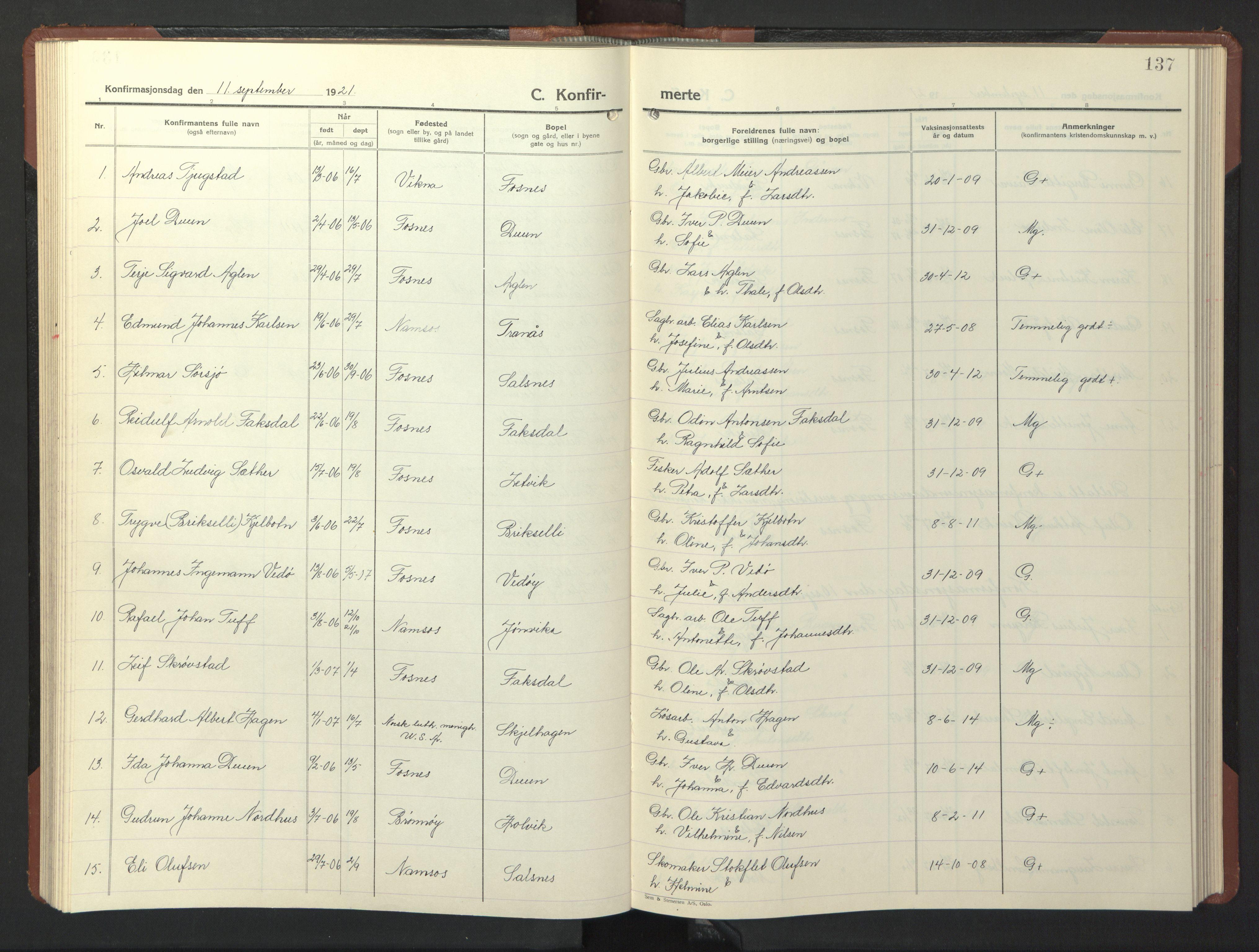 SAT, Ministerialprotokoller, klokkerbøker og fødselsregistre - Nord-Trøndelag, 773/L0625: Klokkerbok nr. 773C01, 1910-1952, s. 137